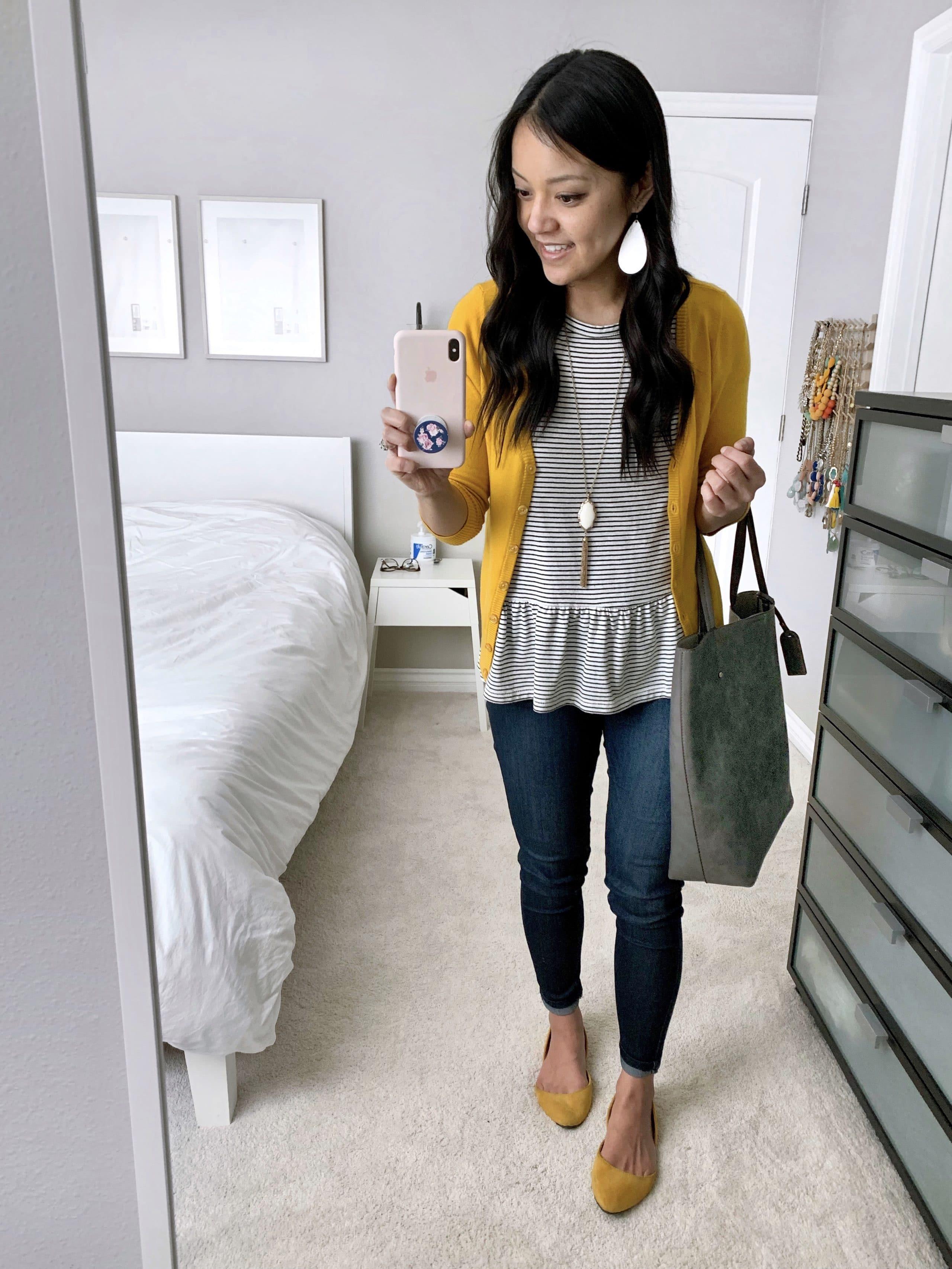 striped peplum tee + mustard yellow cardigan + yellow flats