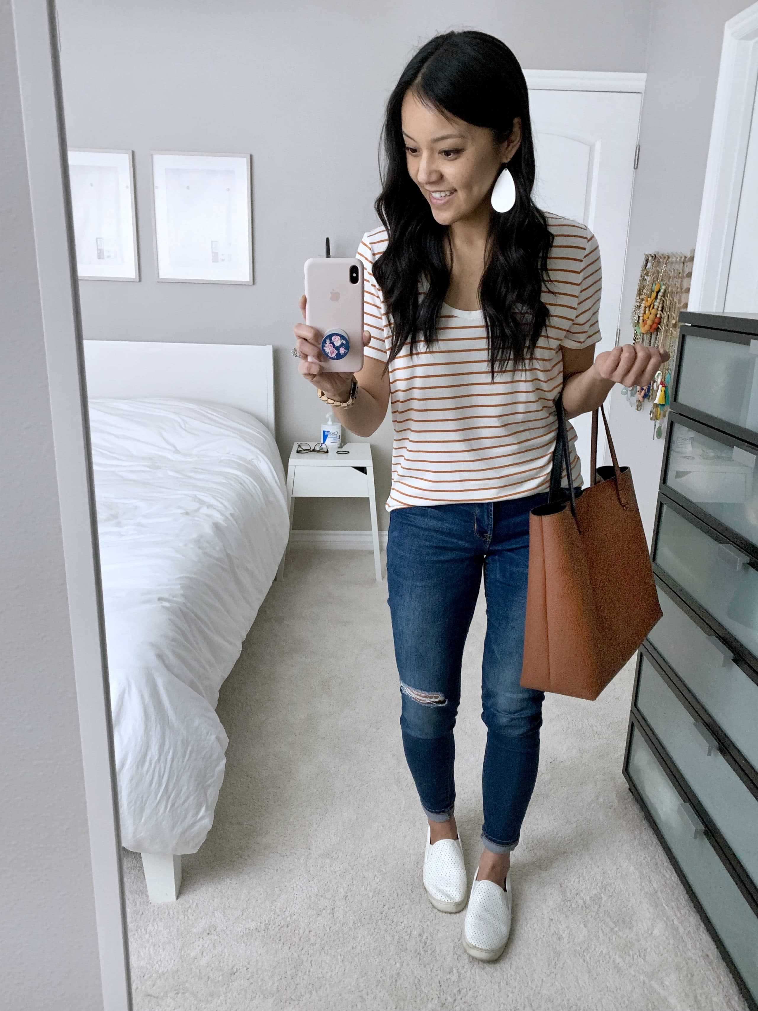 cute casual outfit for weekend with striped tee