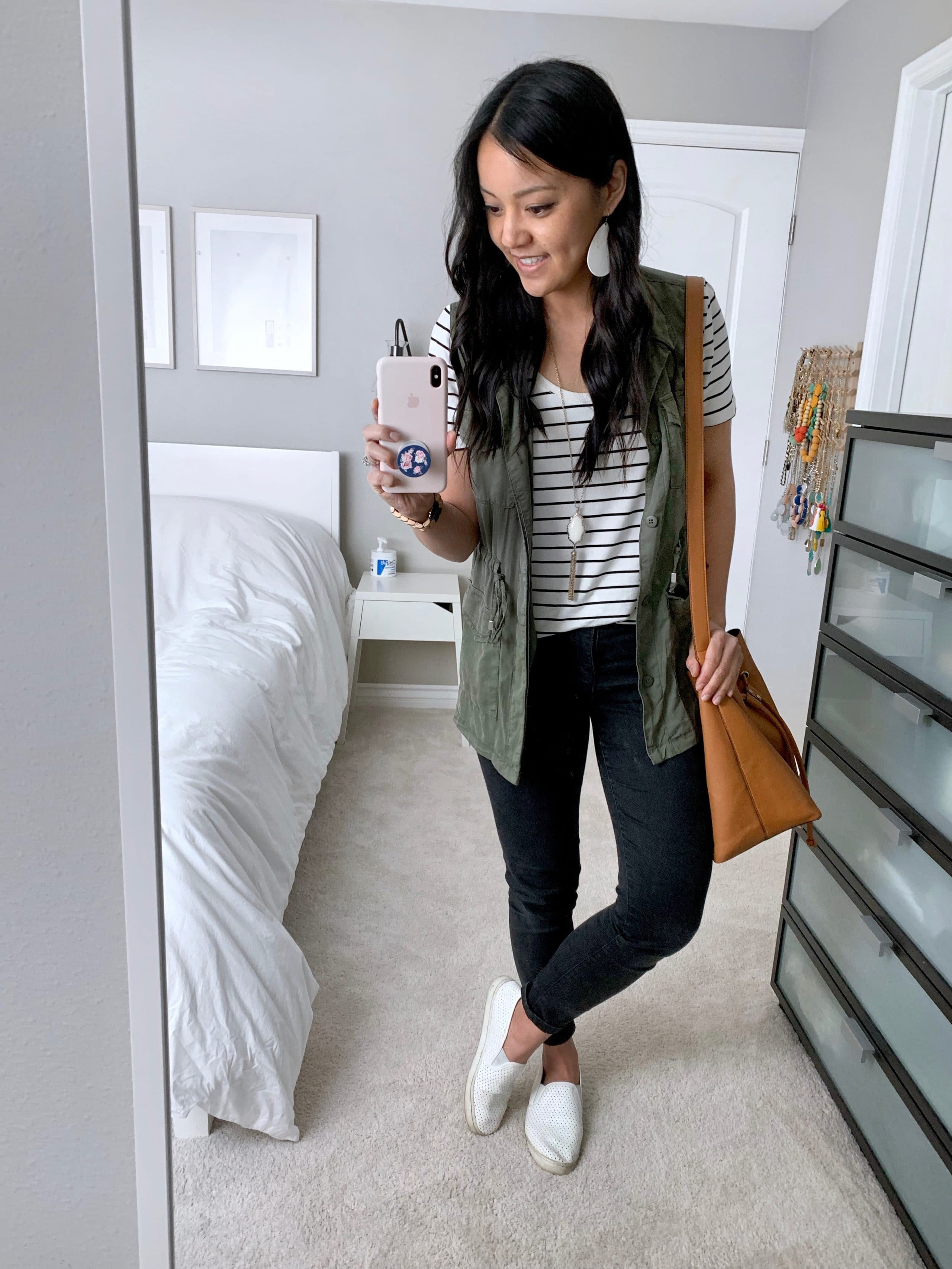Casual Weekend Outfit: Striped Tee + Utility Vest