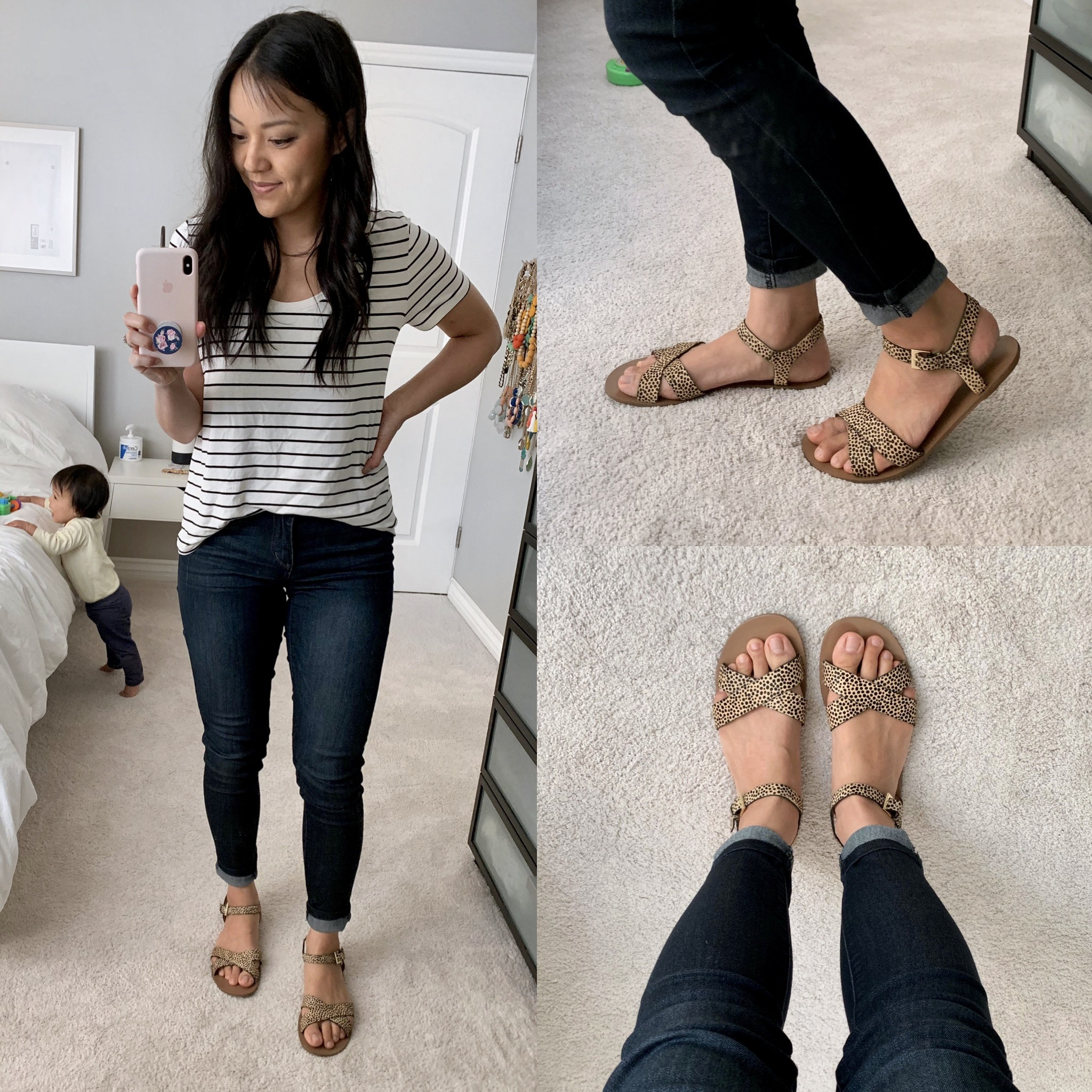 leopard print sandals + skinny jeans + striped tee