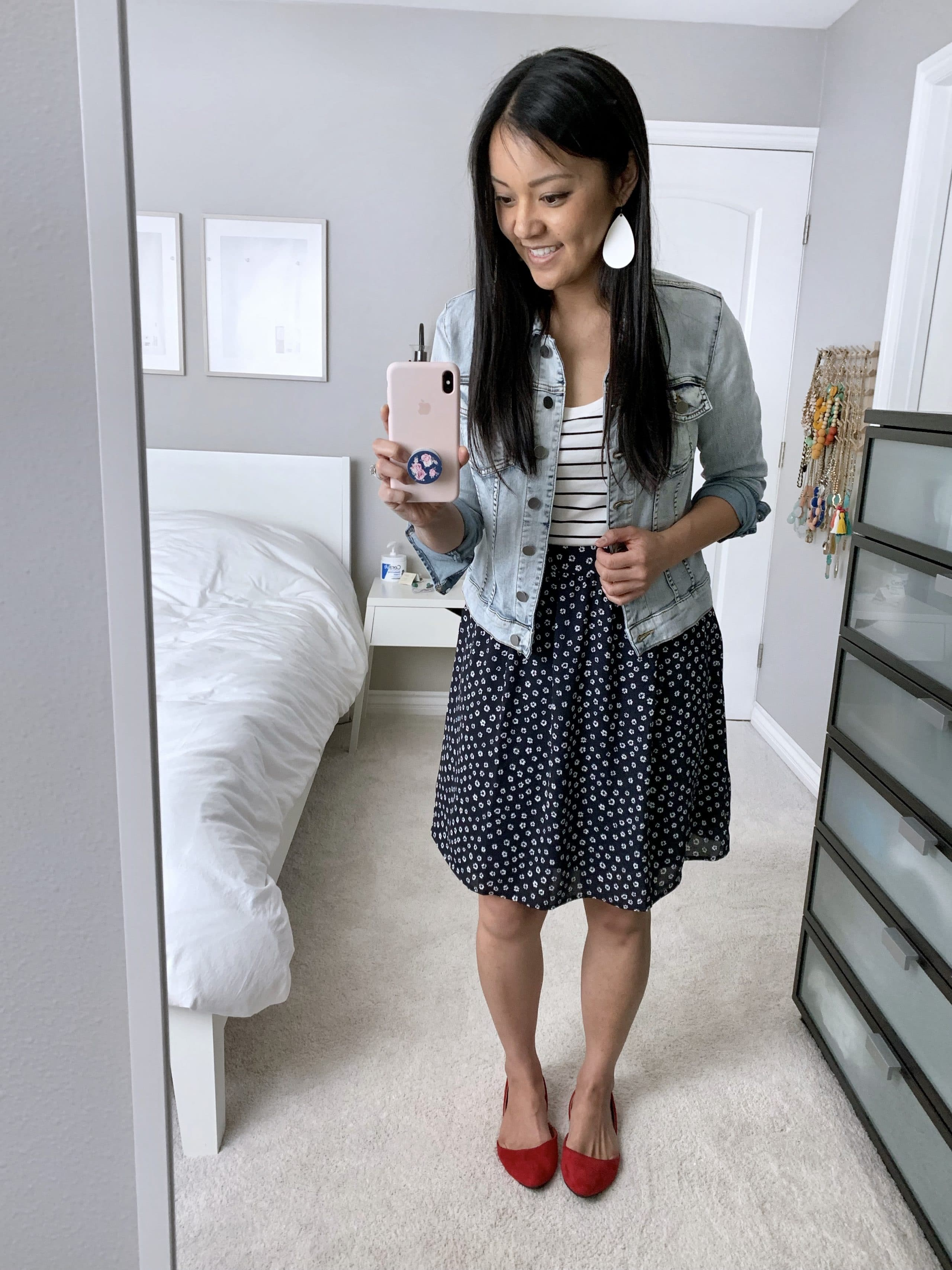 navy printed skirt + striped tee + denim jacket + red flats outfit