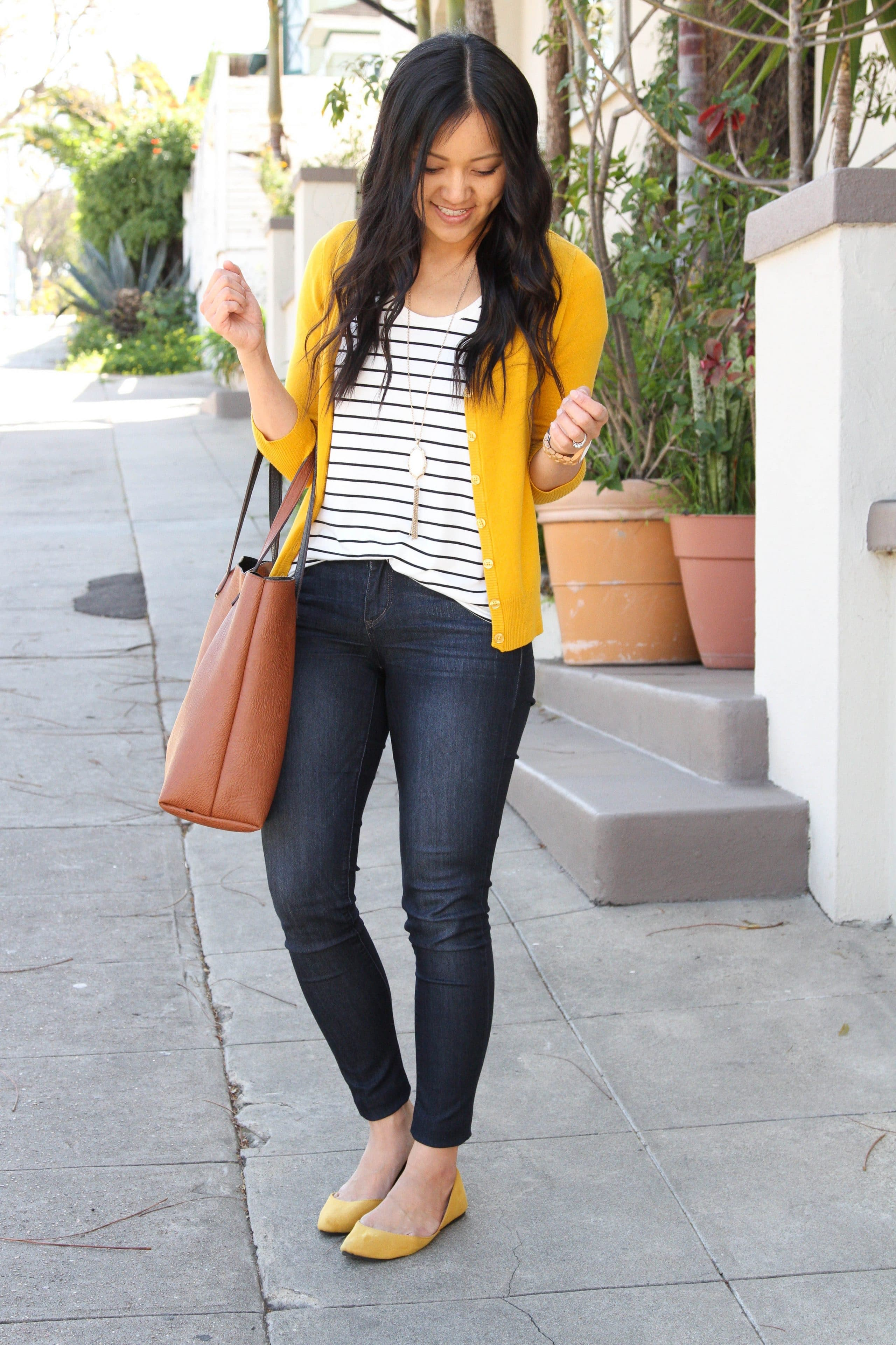 yellow cardigan + yellow flats + striped tee + skinny jeans