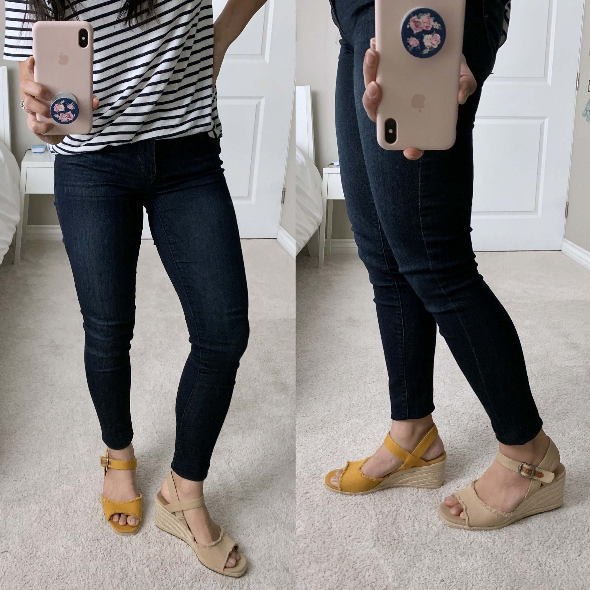 yellow wedges + tan wedges + review