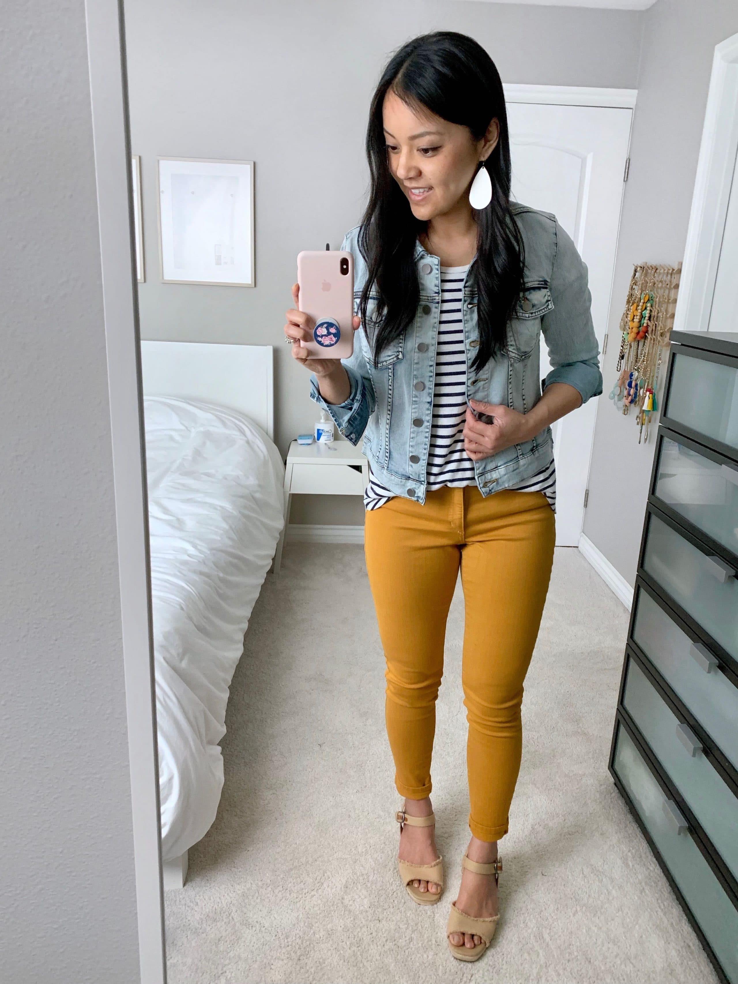 mustard yellow jeans + striped tee + denim jacket