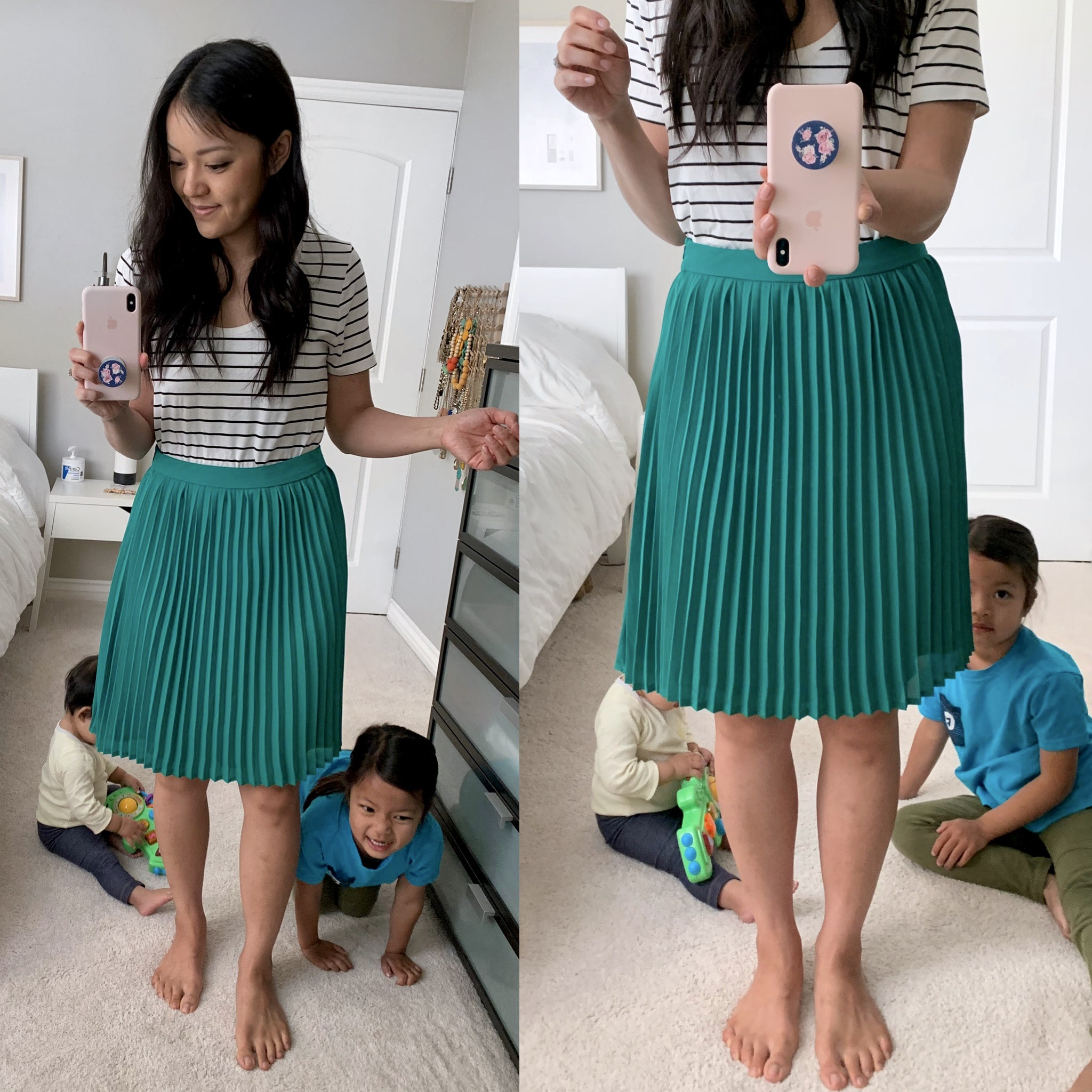 green skirt + striped tee