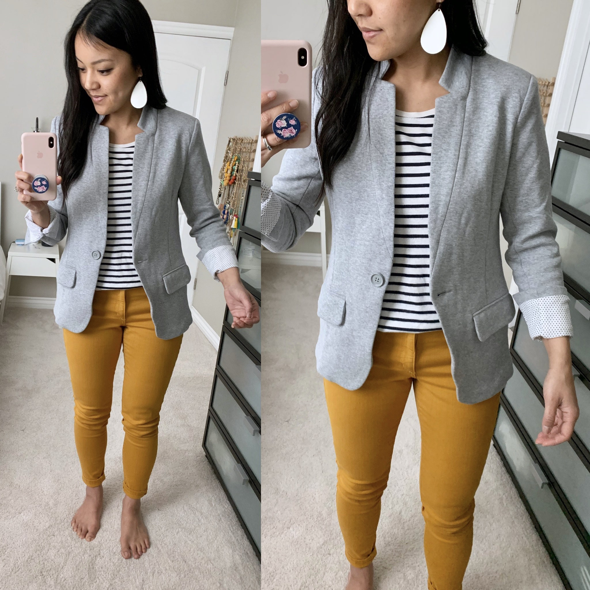 mustard pants + striped tee + grey blazer