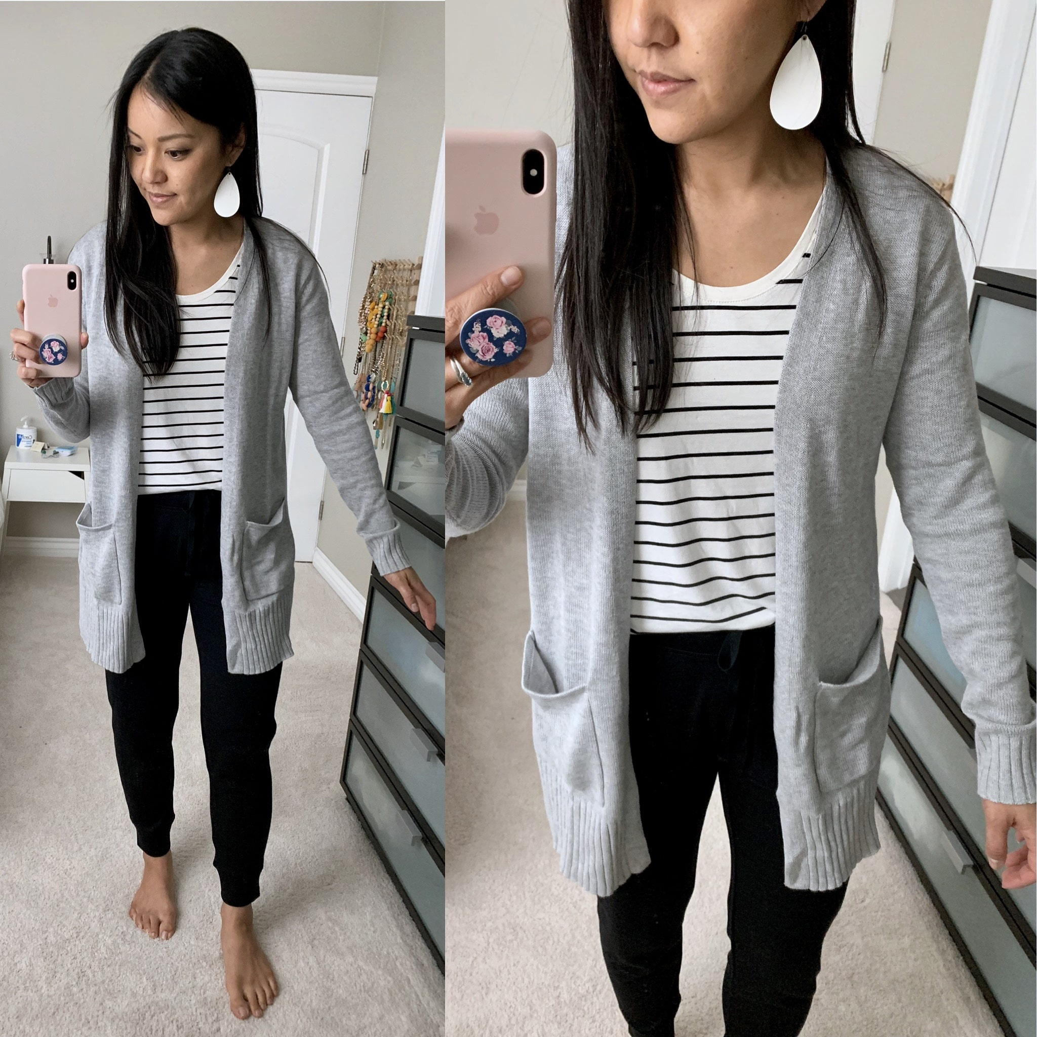 striped tee + grey cardigan + black joggers