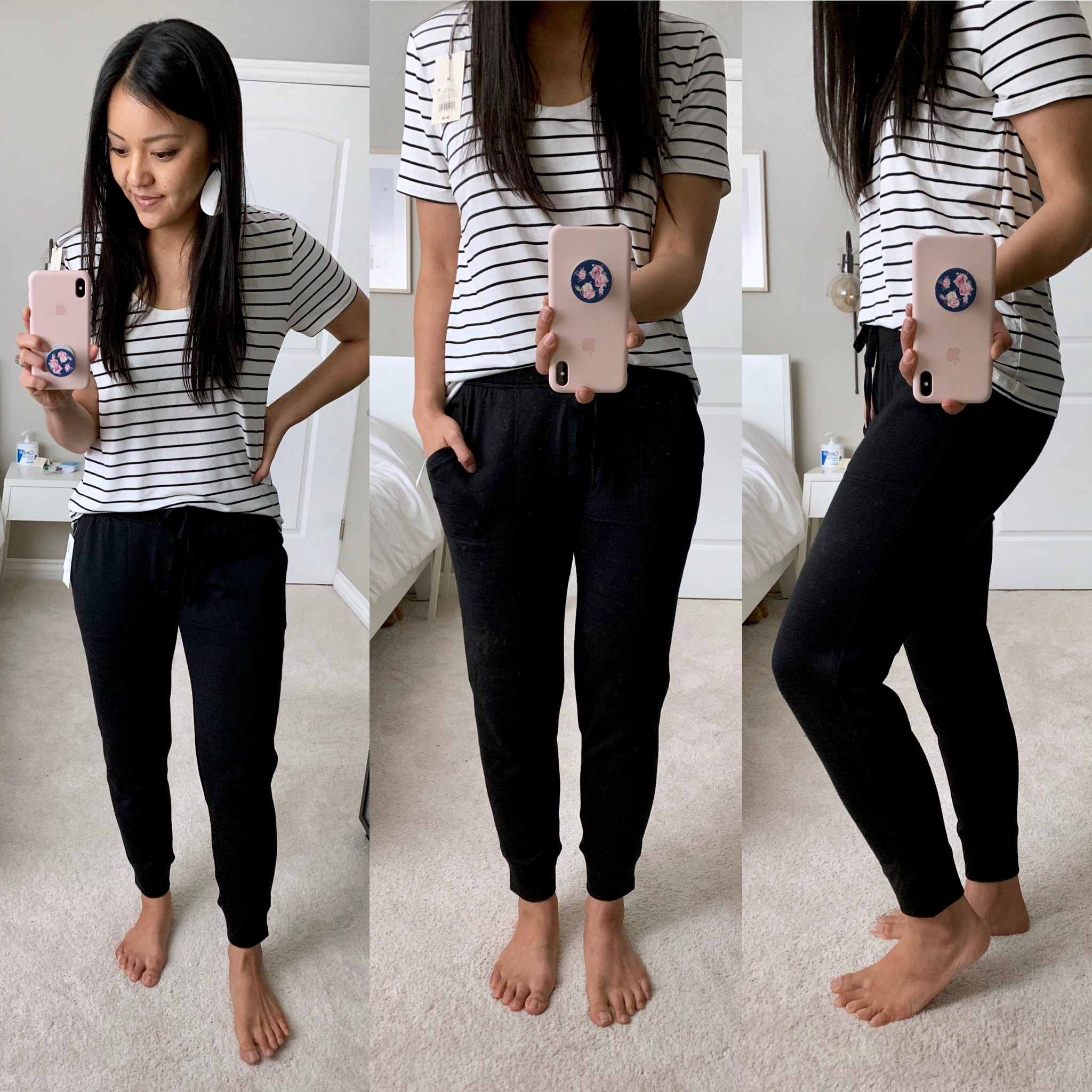 black joggers + striped tee