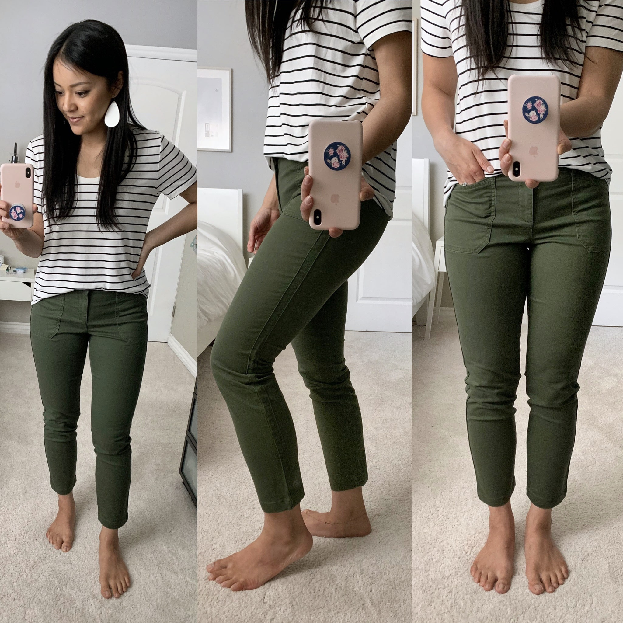olive pants + striped tee