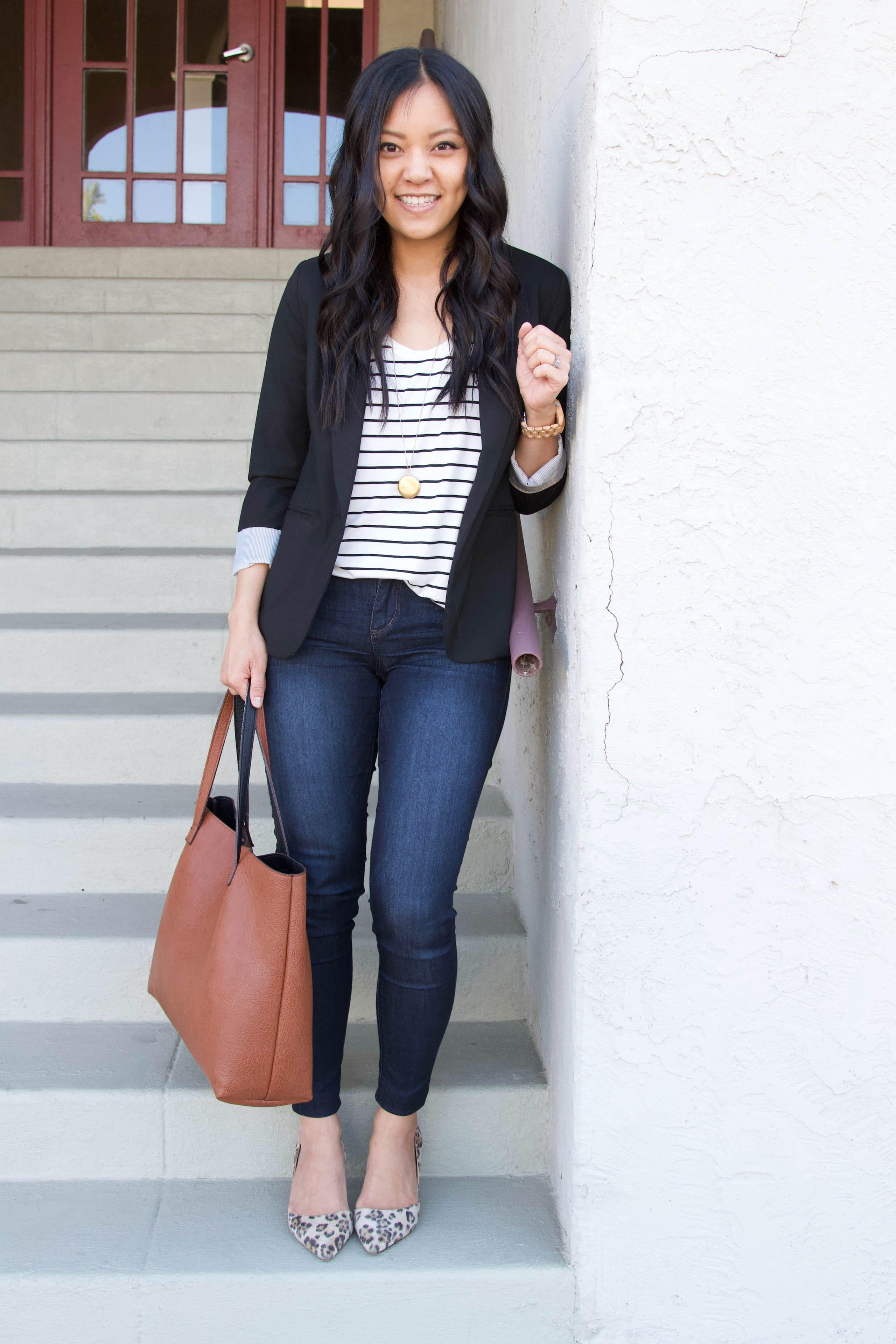black twill blazer + striped tee + skinny jeans + leopard print flats + brown tote