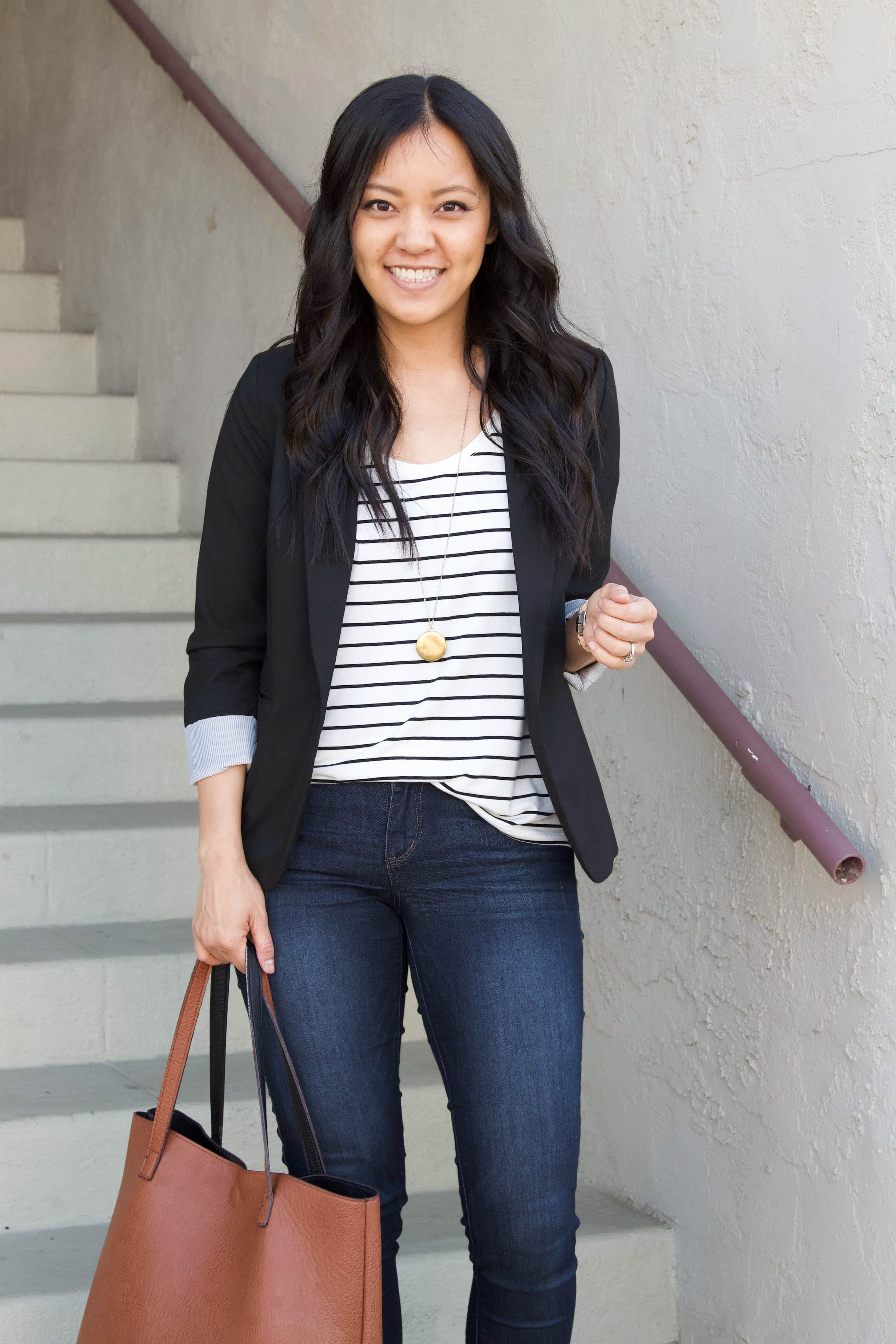 black twill blazer + pendant necklace + striped tee + skinny jeans