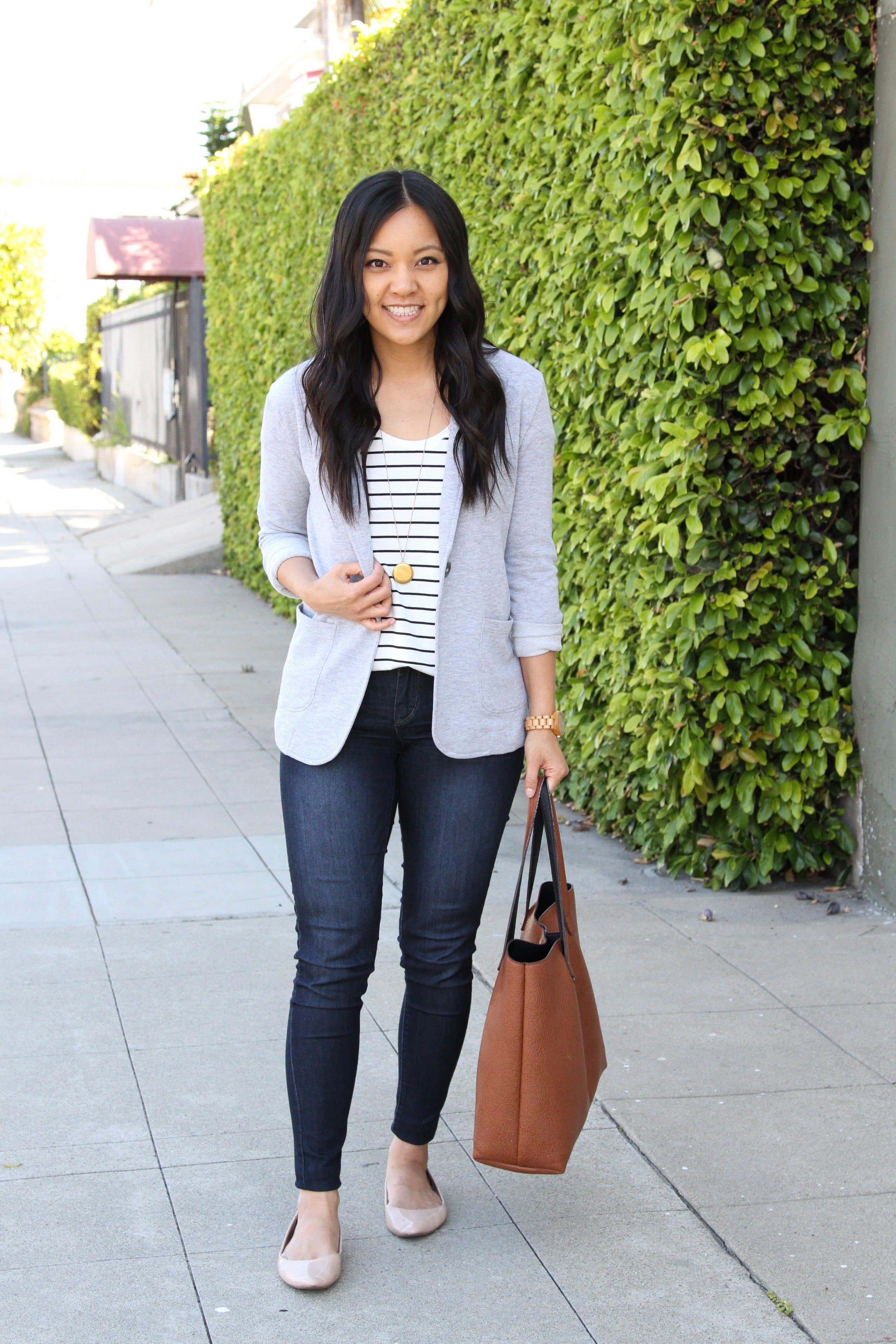 grey blazer + skinny jeans + striped tee + nude flats + brown tote