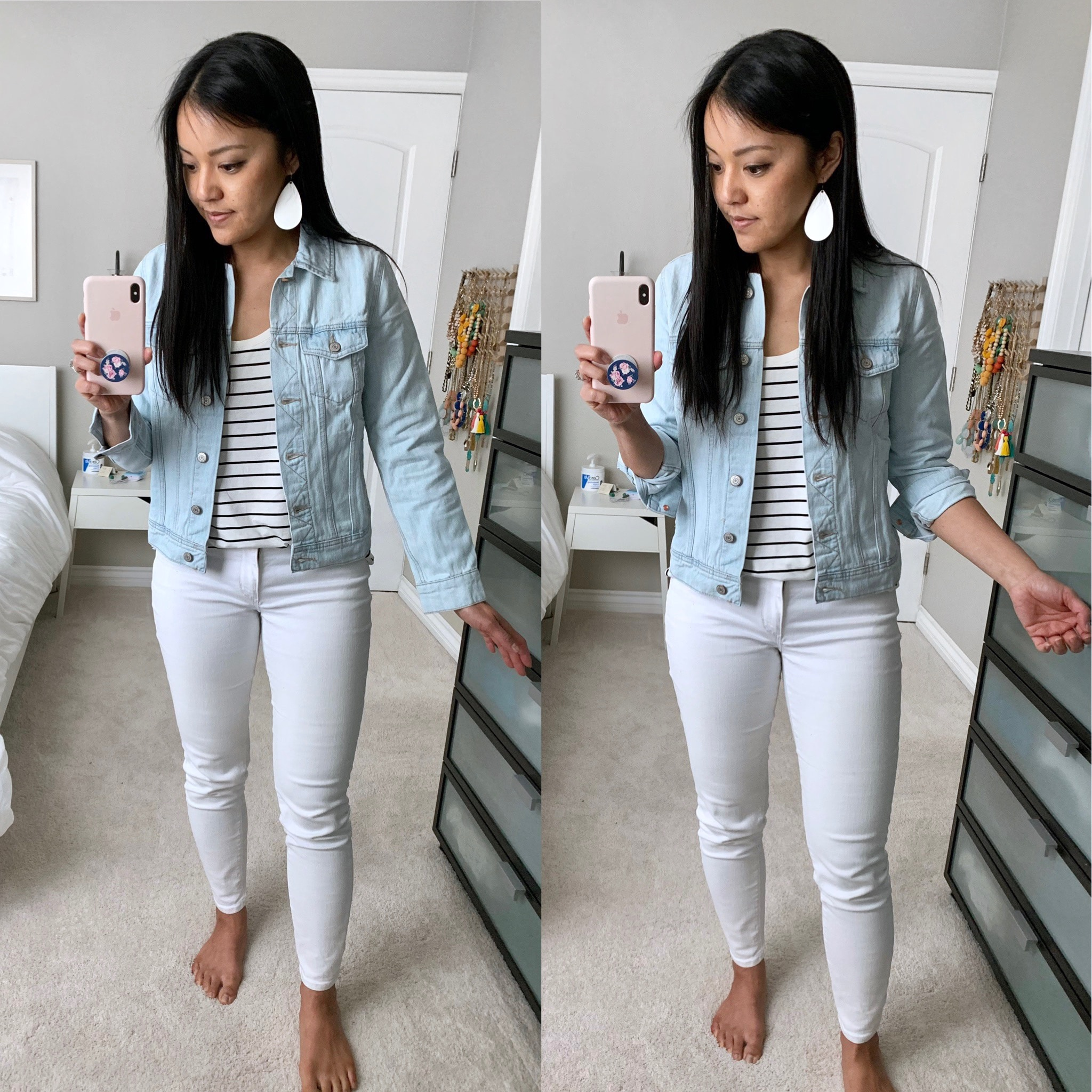 denim jacket + white jeans + striped tee