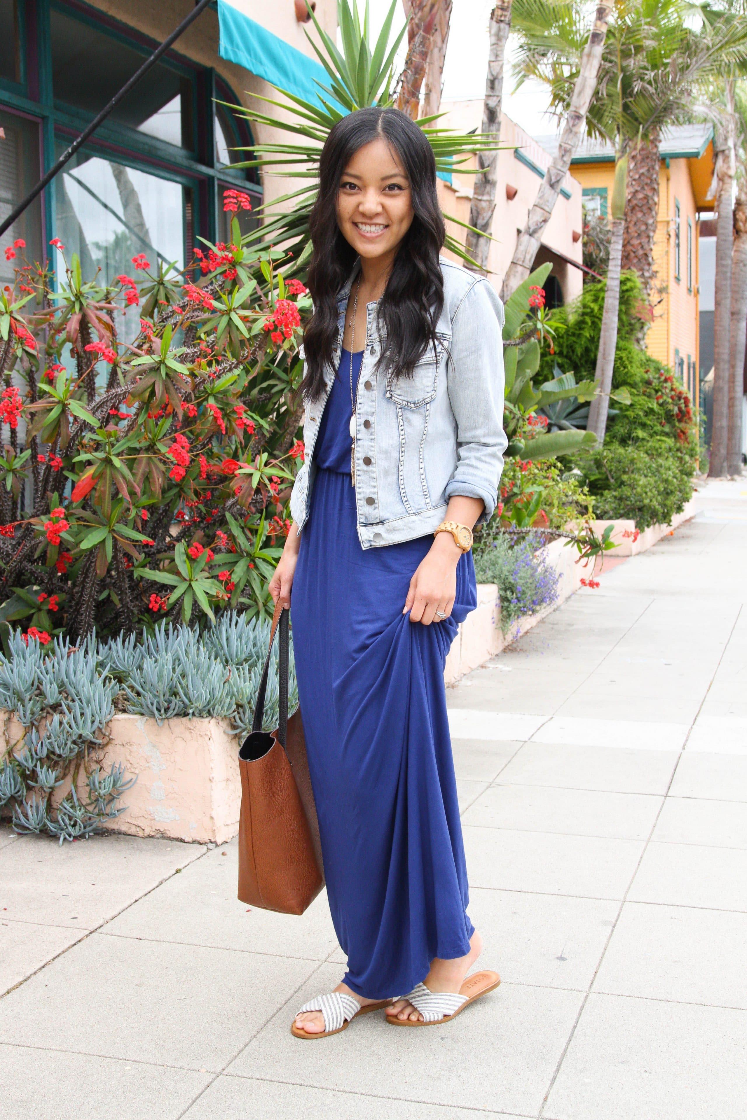 sandals + denim jacket + blue maxi dress + cognac tote