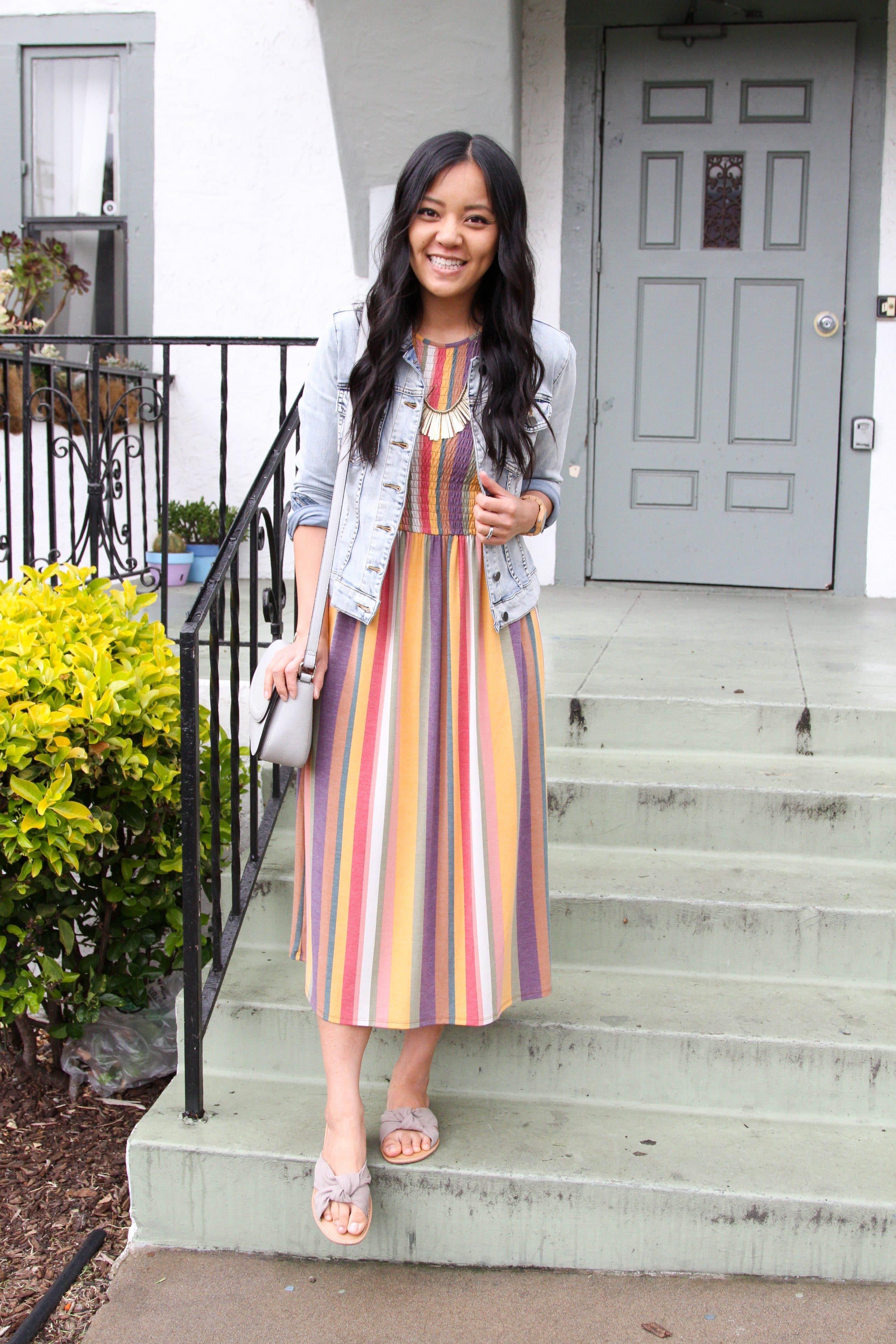 striped maxi dress + denim jacket + grey purse + sandals + statement necklace