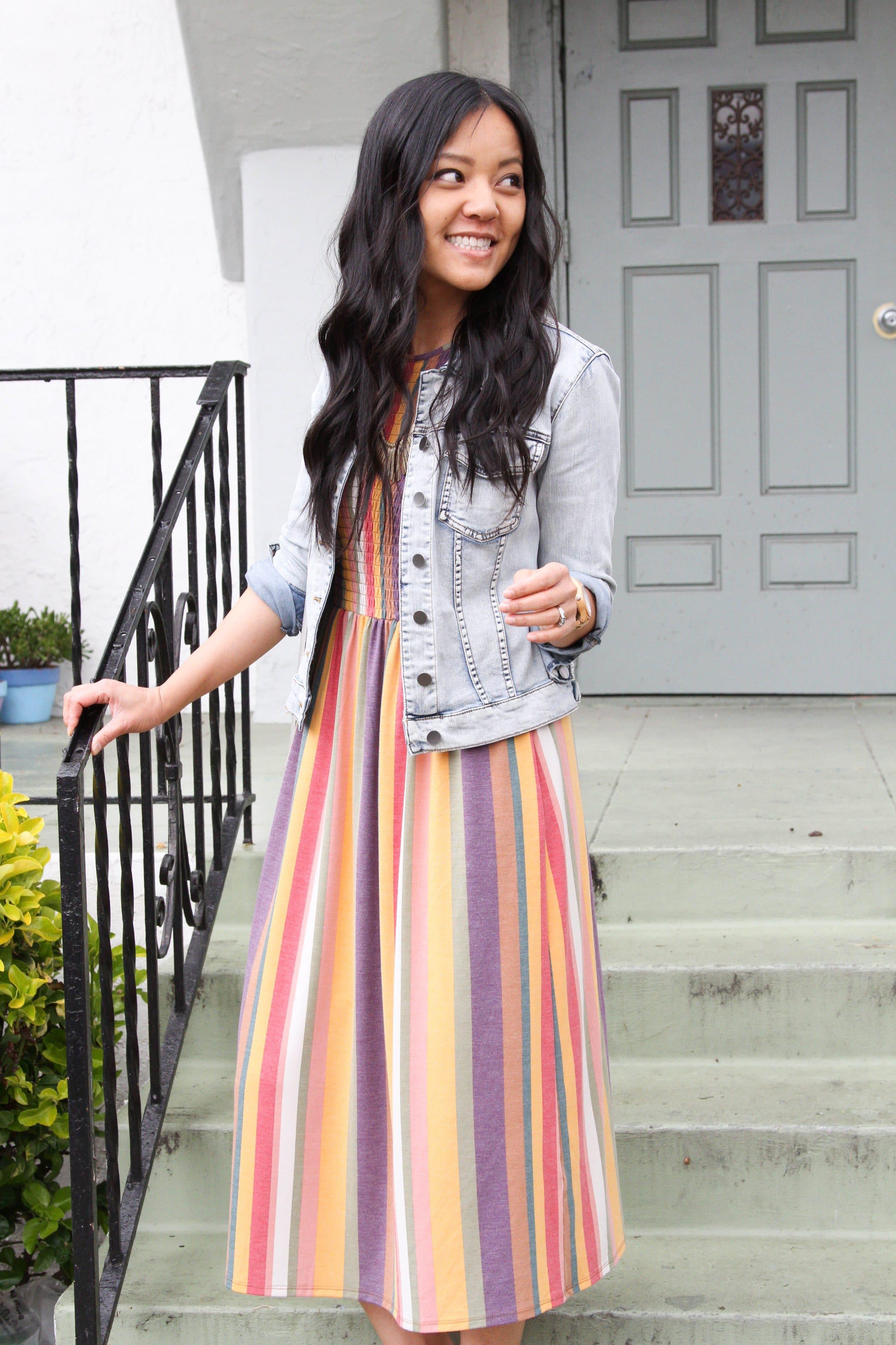 denim jacket + striped maxi dress