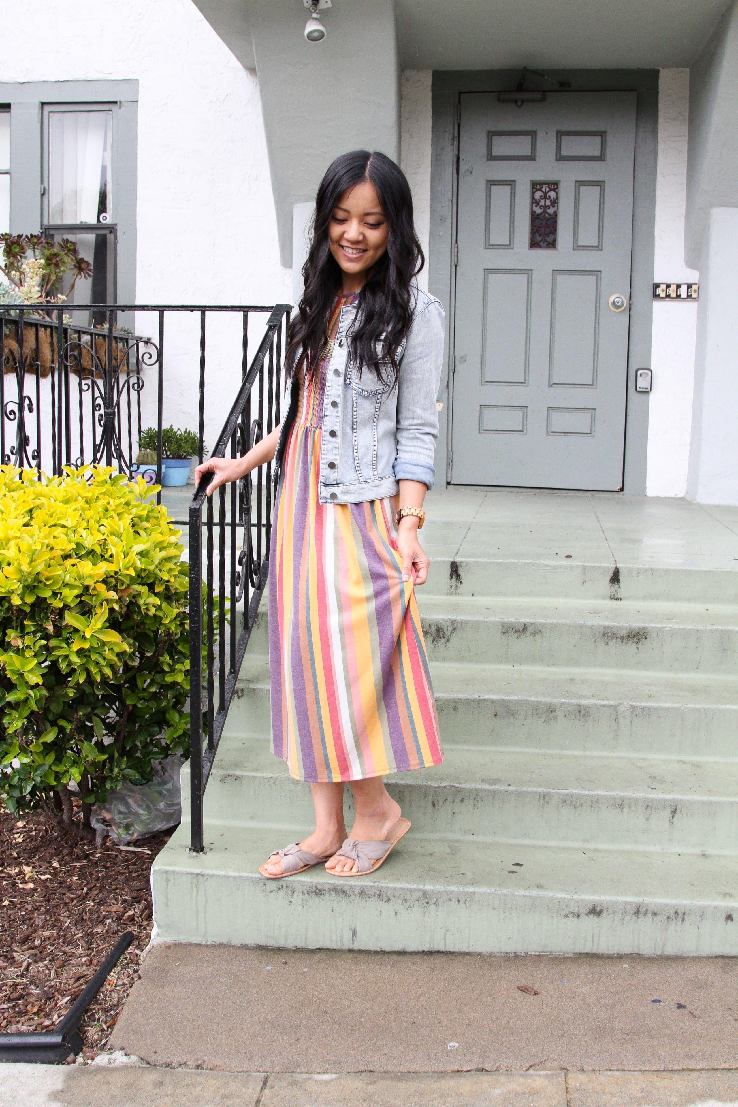 denim jacket + sandals + striped maxi dress