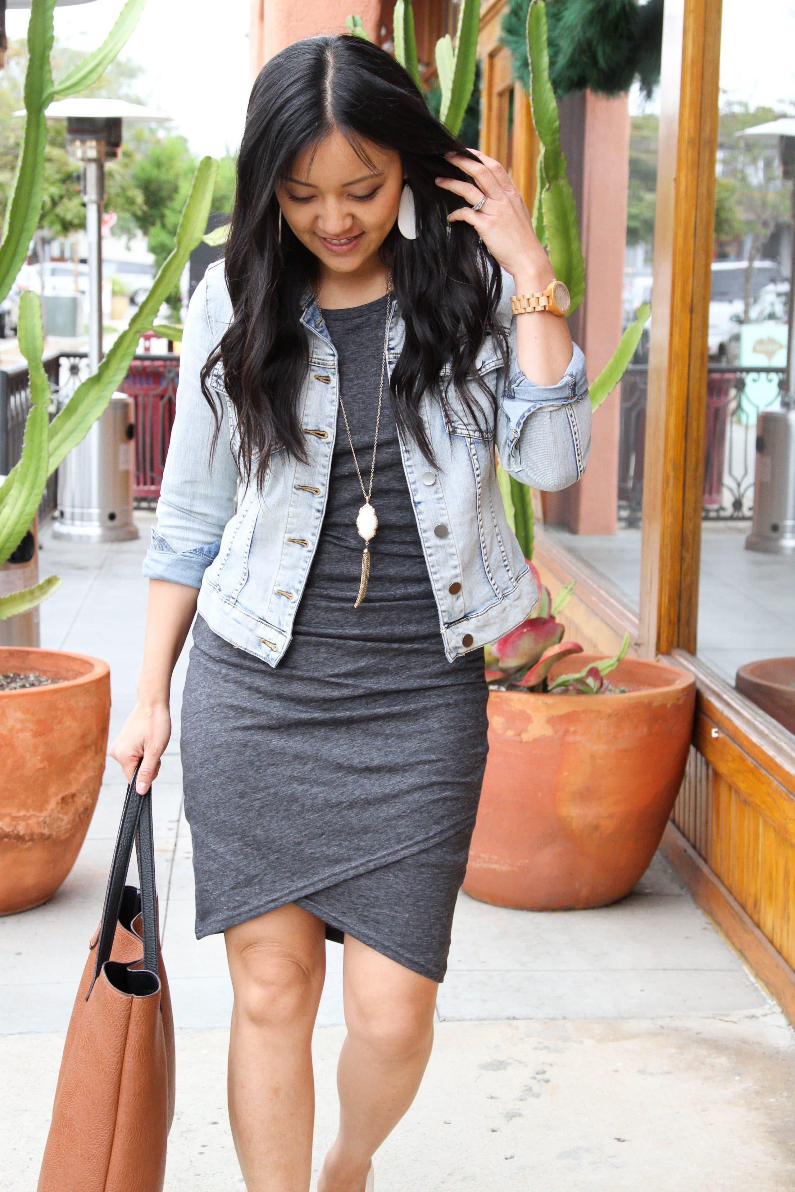 grey ruched dress + denim jacket + pendant necklace + cognac tote