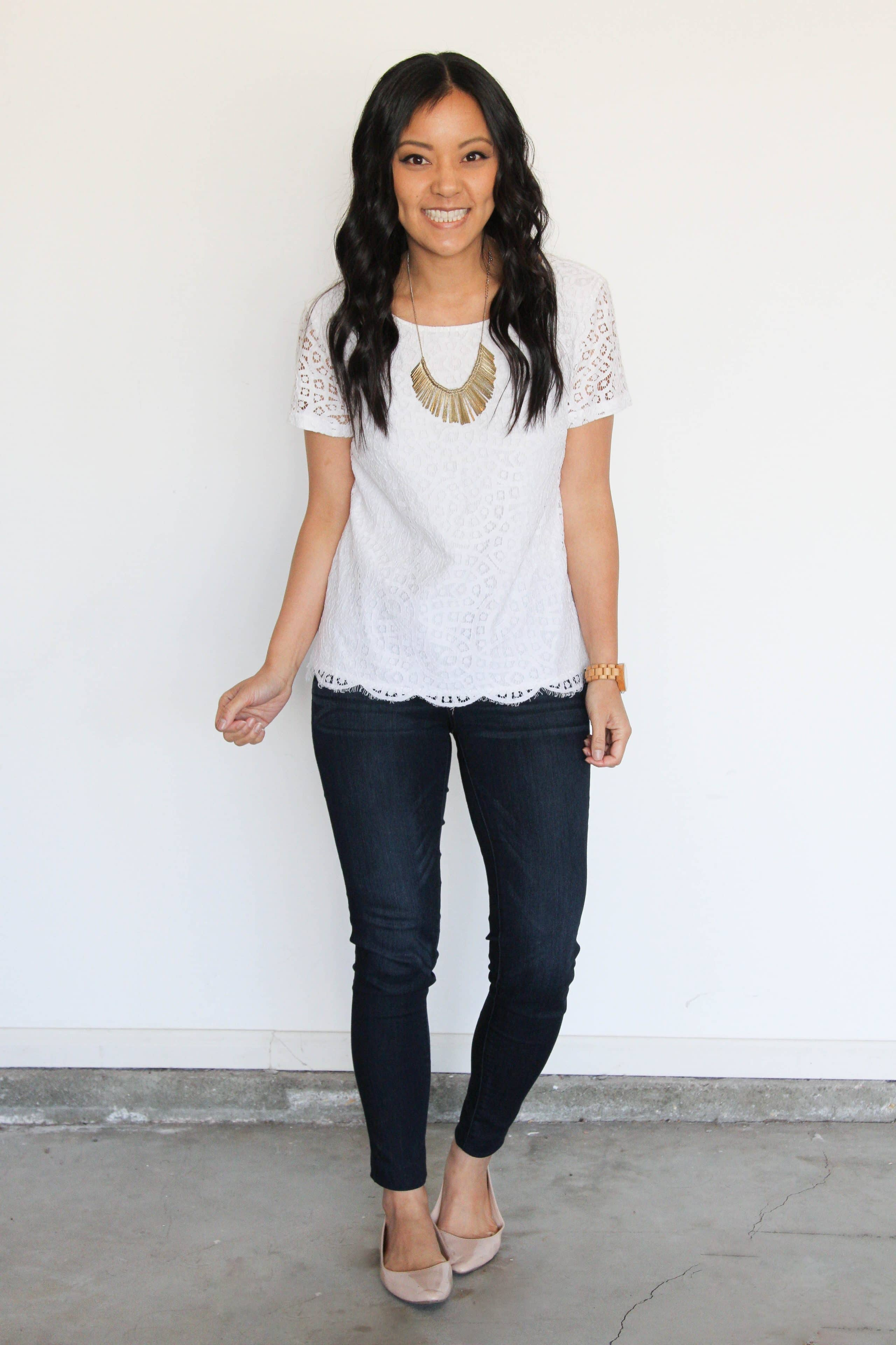 white lace tee + jeans + nude flats + metallic statement necklace