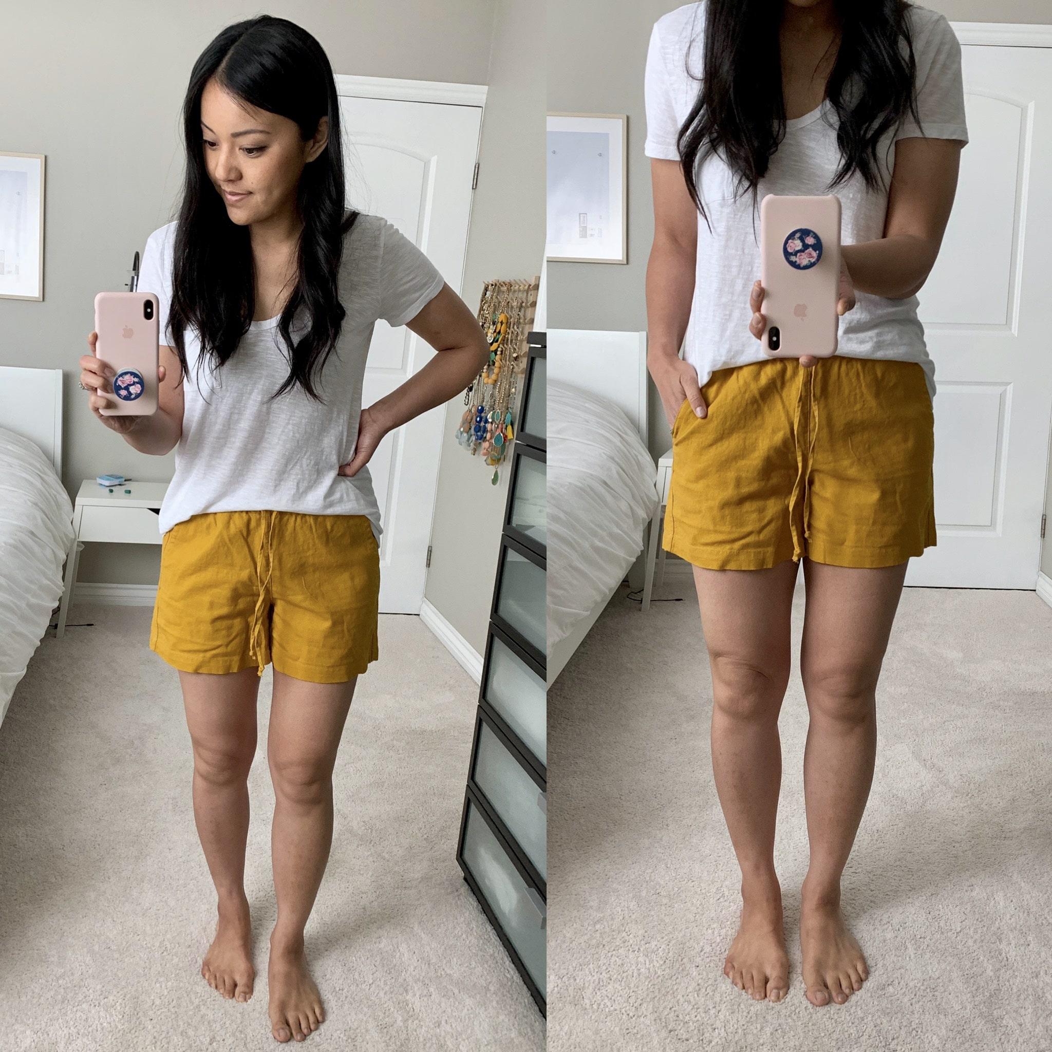 j.crew factory linen shorts review