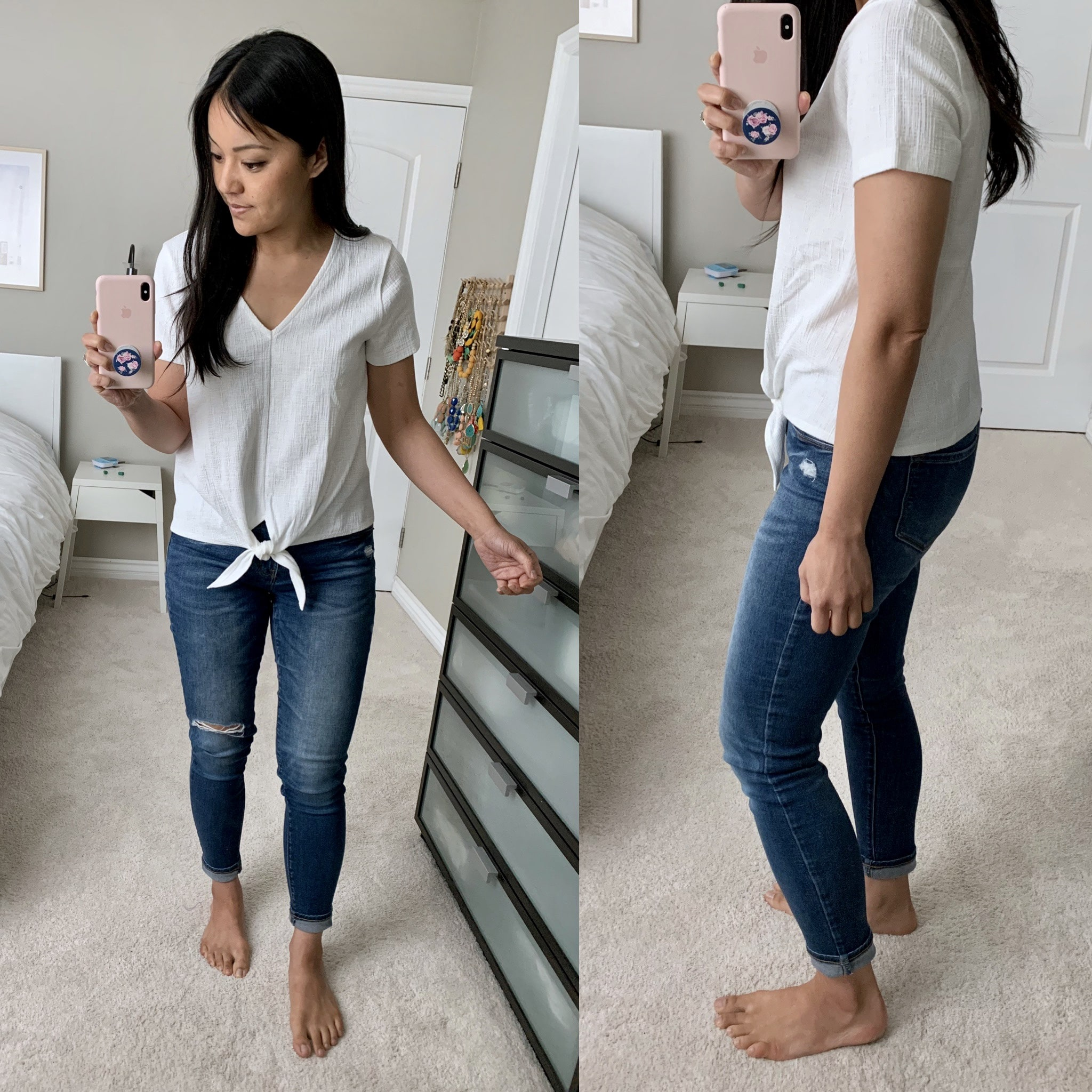 j.crew factory white knotted top reviews