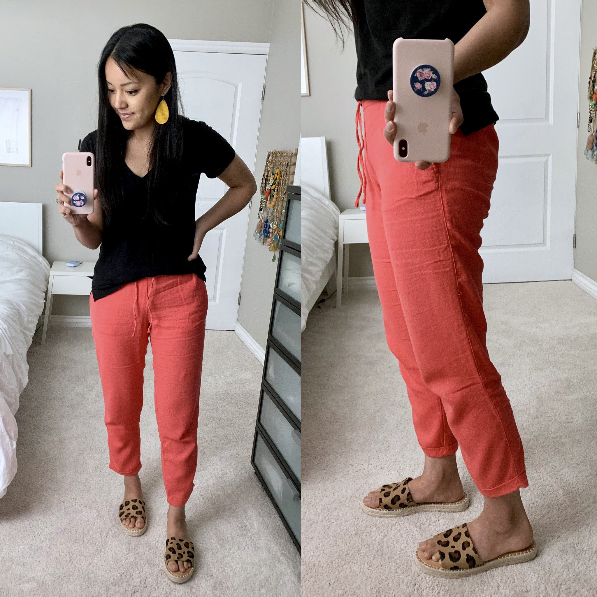 old navy coral linen pants review