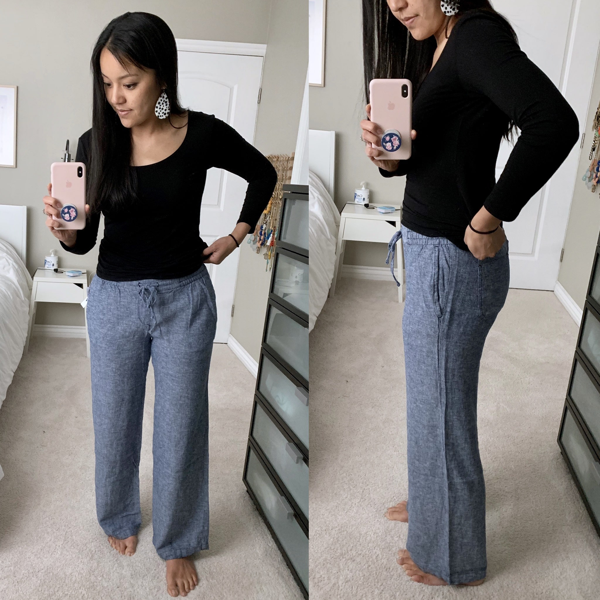 old navy linen wide leg pants review