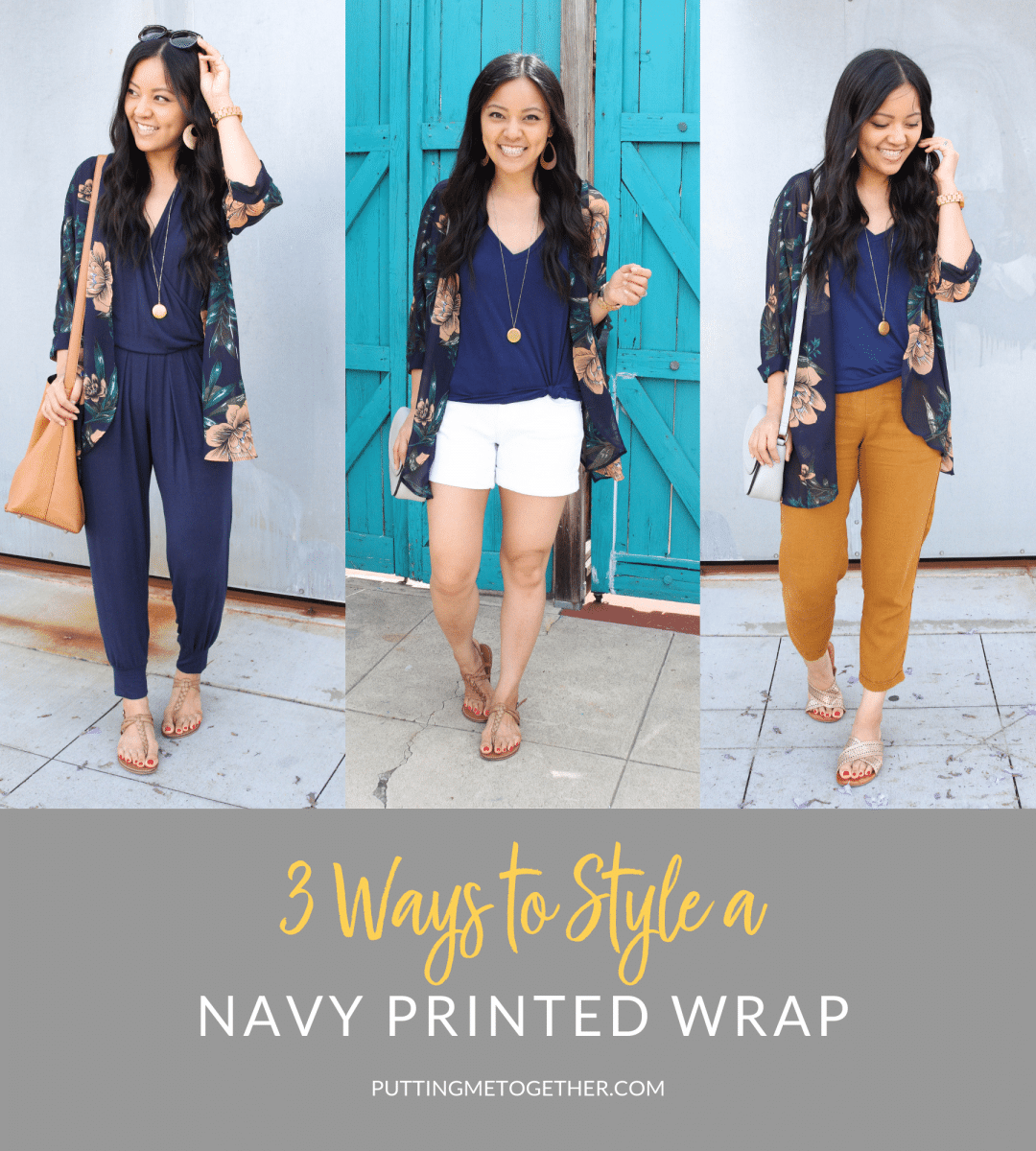 Three Outfits With a Floral Printed Wrap