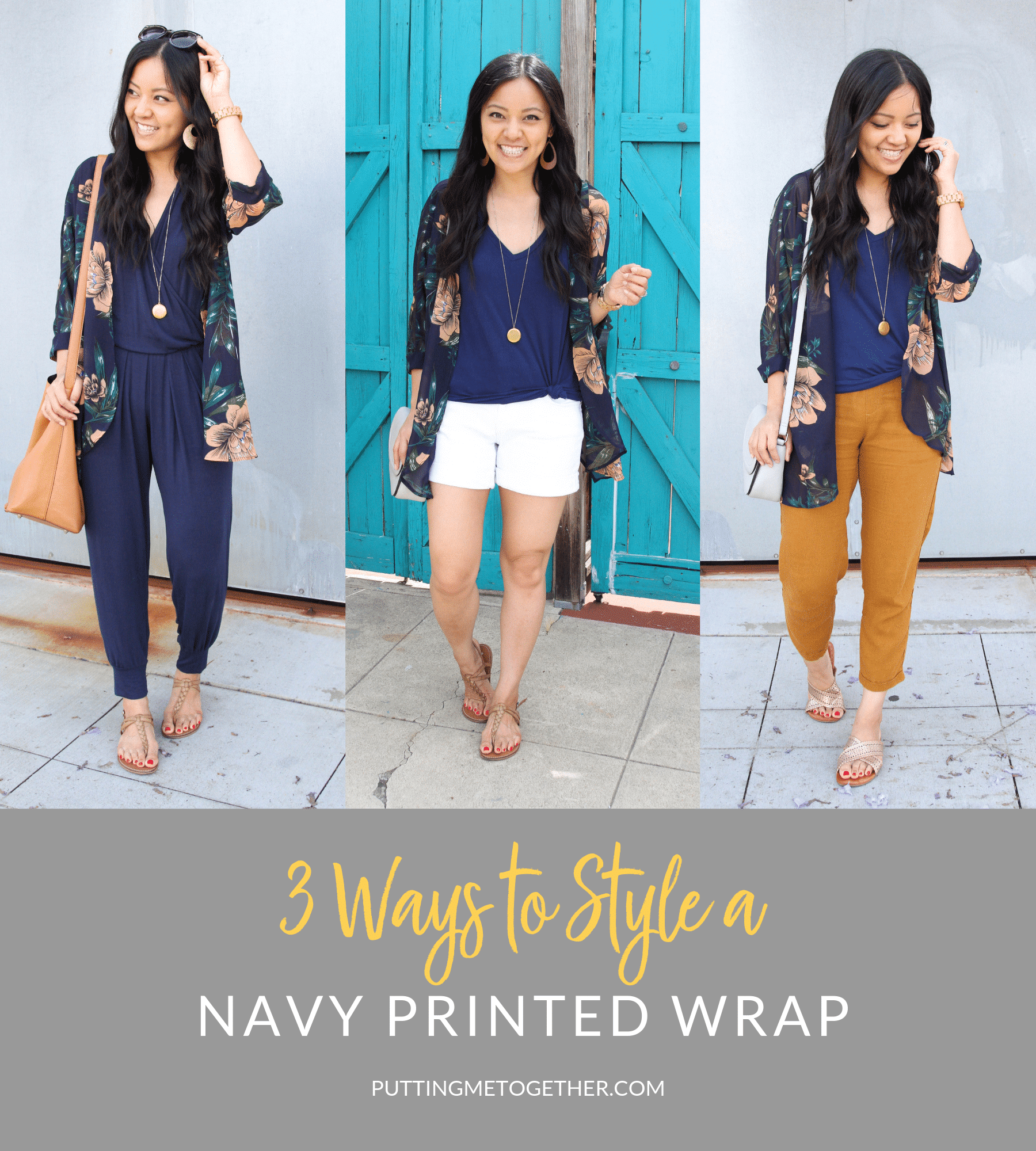 3 Ways to style a navy printed wrap