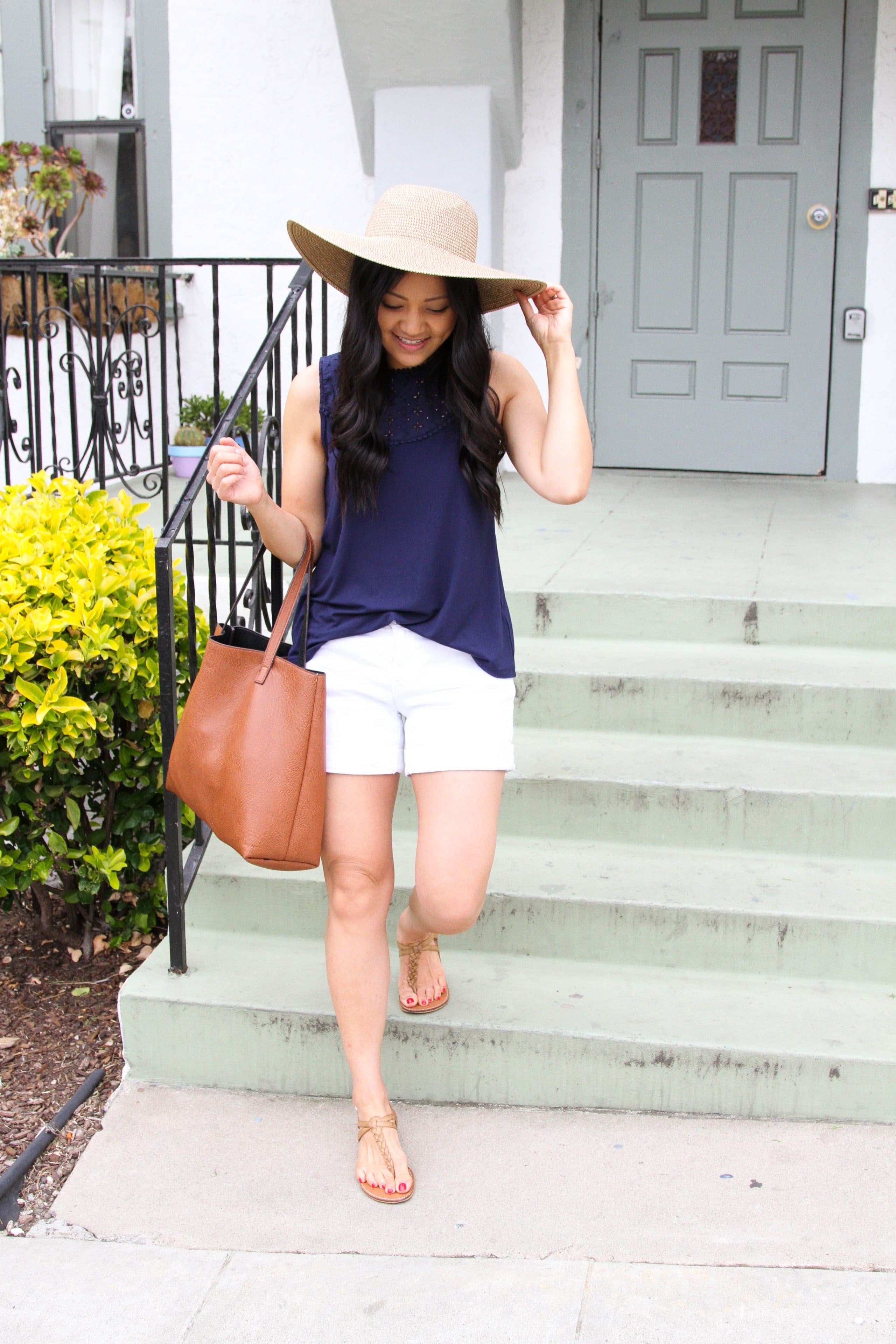 Navy Tank + White Shorts + Brown Tote + Thong Sandals + Floppy Hat