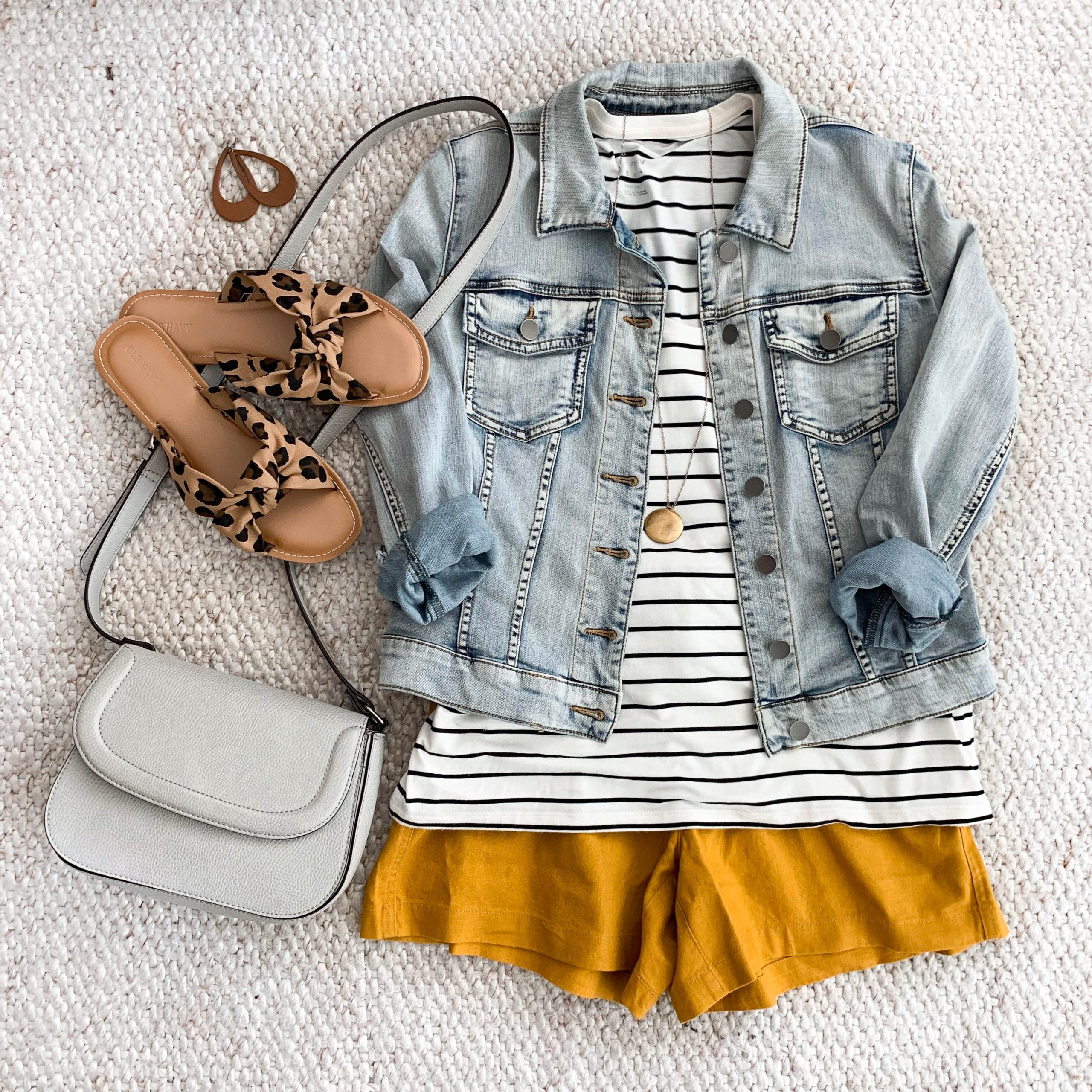 yellow shorts + striped tee + denim jacket + leopard print sandals + white purse