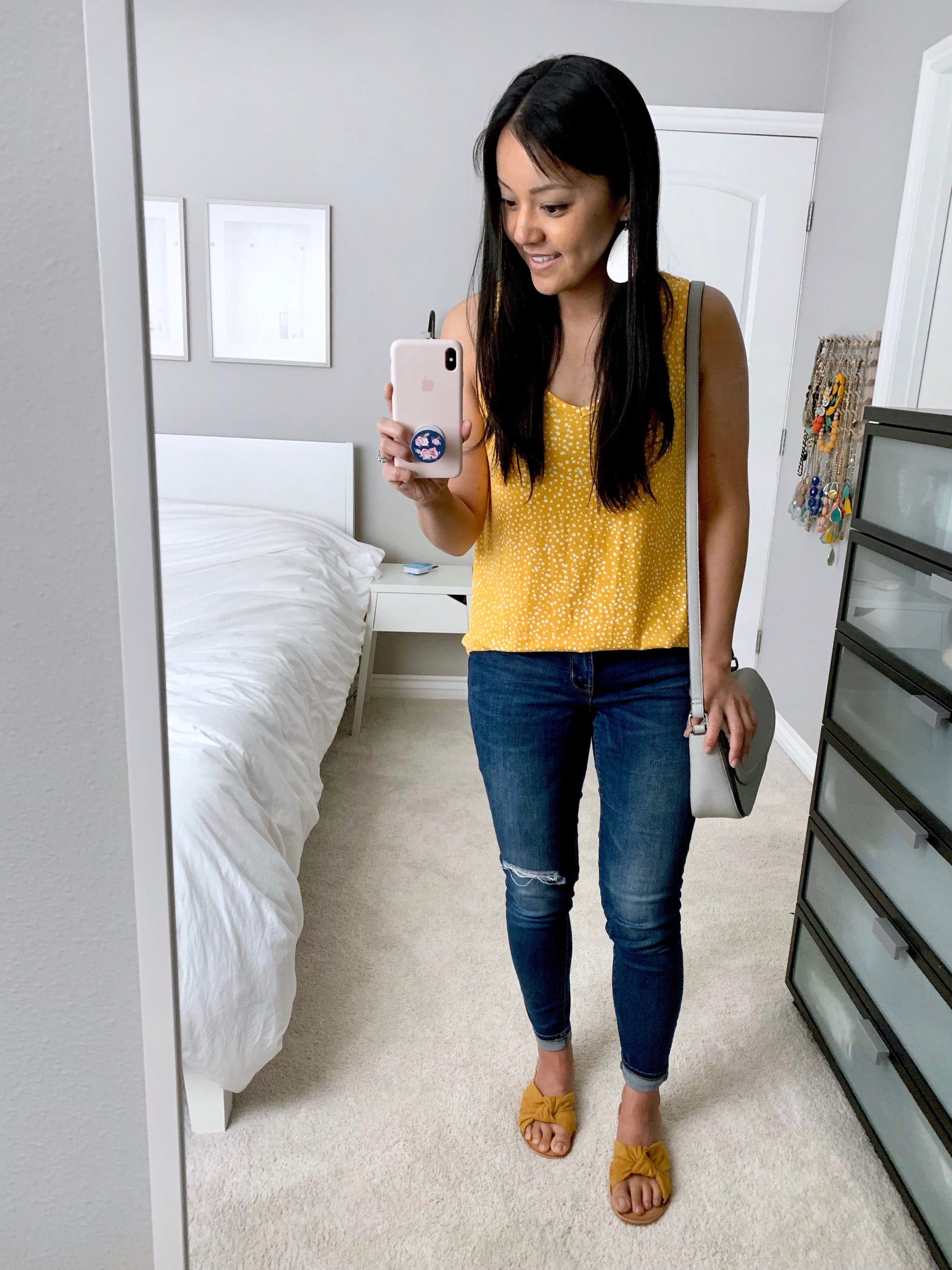 yellow shirt + blue jeans + yellow sandals