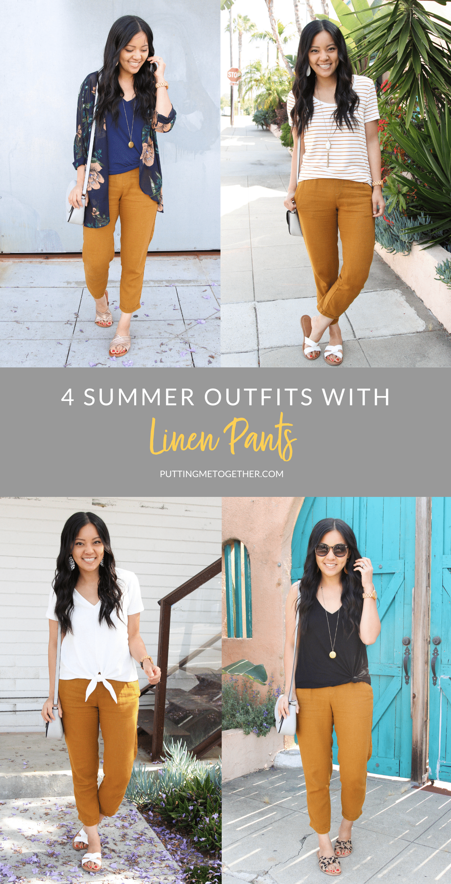 4 Summer Outfits with linen Pants