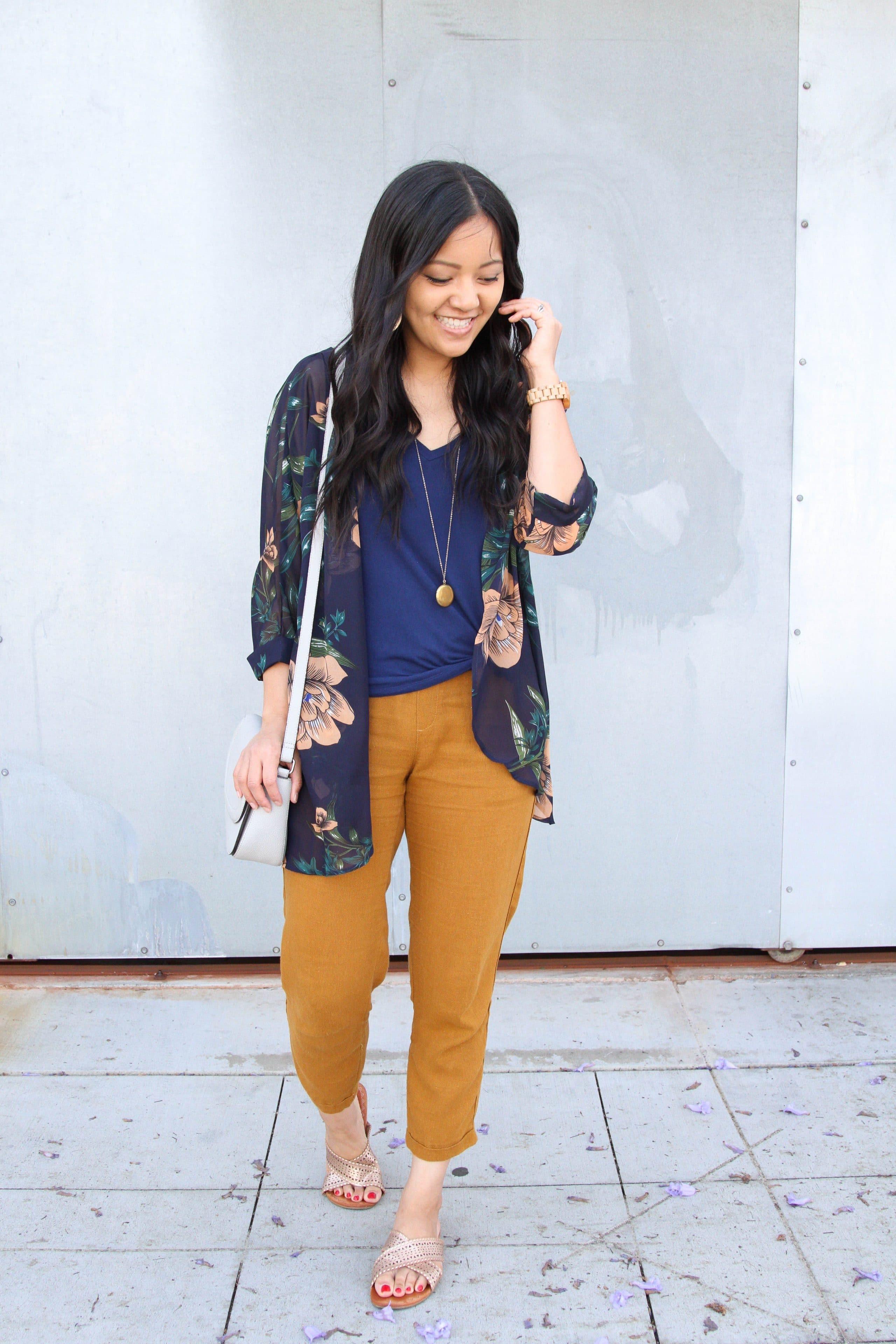 navy top + tan linen pants + floral wrap + metallic sandals