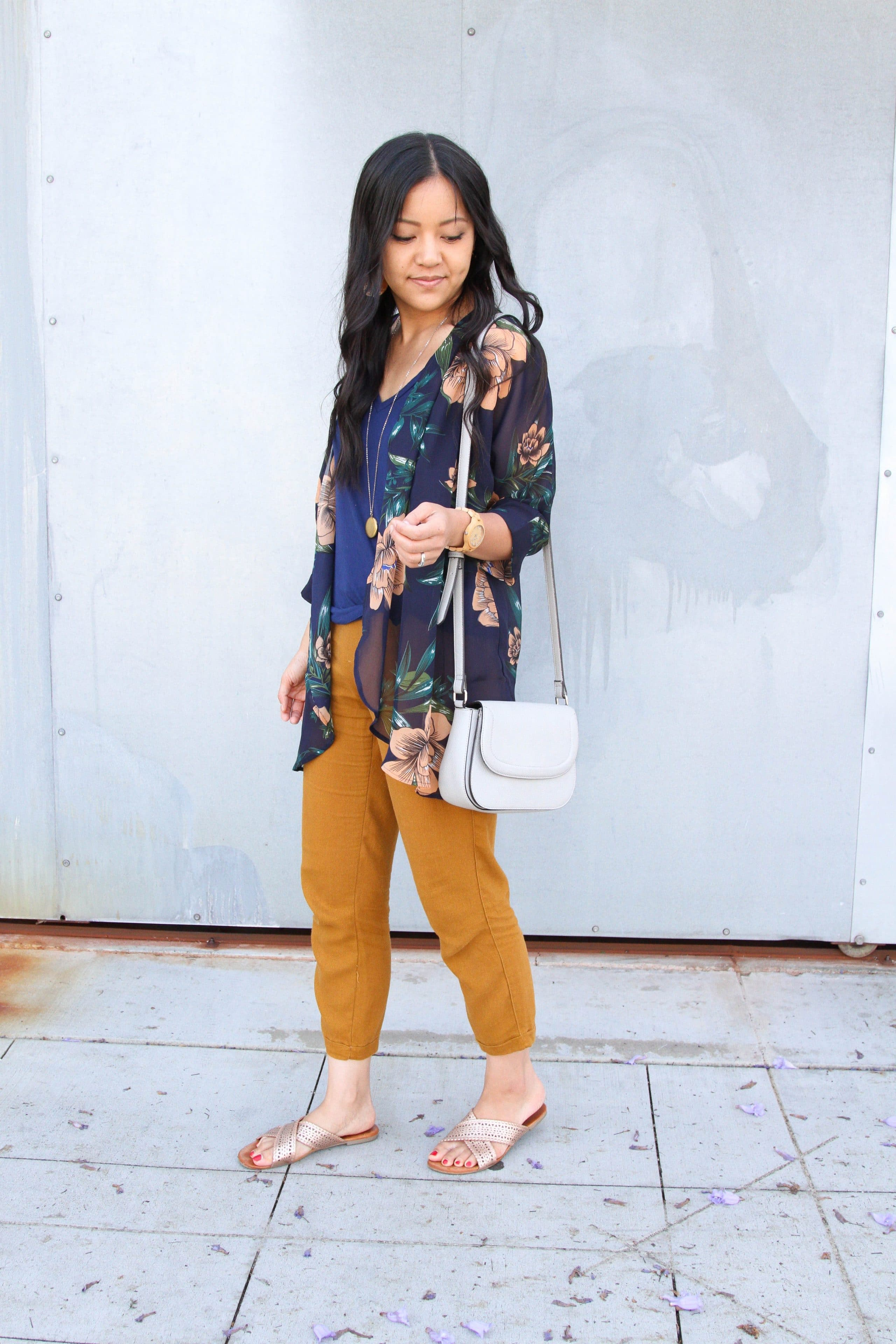 navy top + mustard yellow linen pants + navy floral wrap + metallic sandals