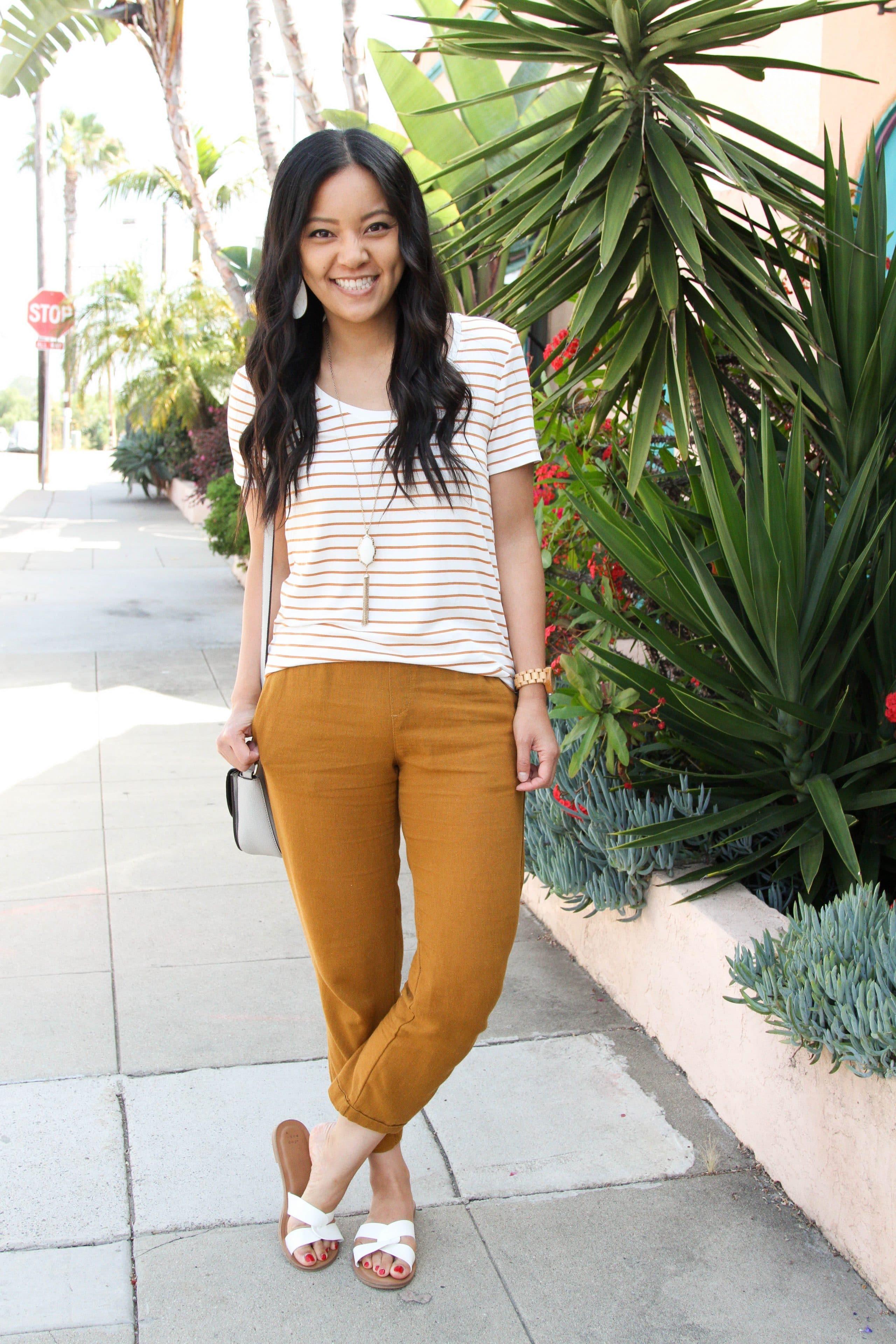 tan linen pants + striped tee + white sandals