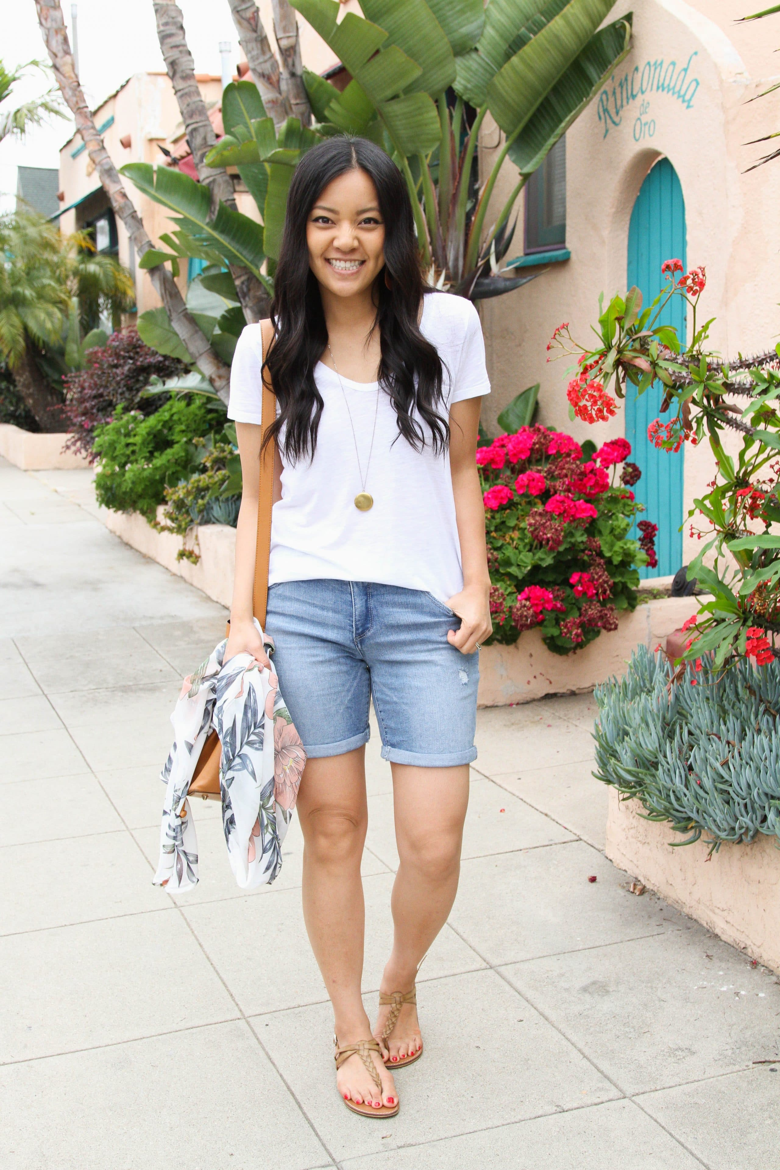 Sandals + white tee + bermuda shorts + bucket bag