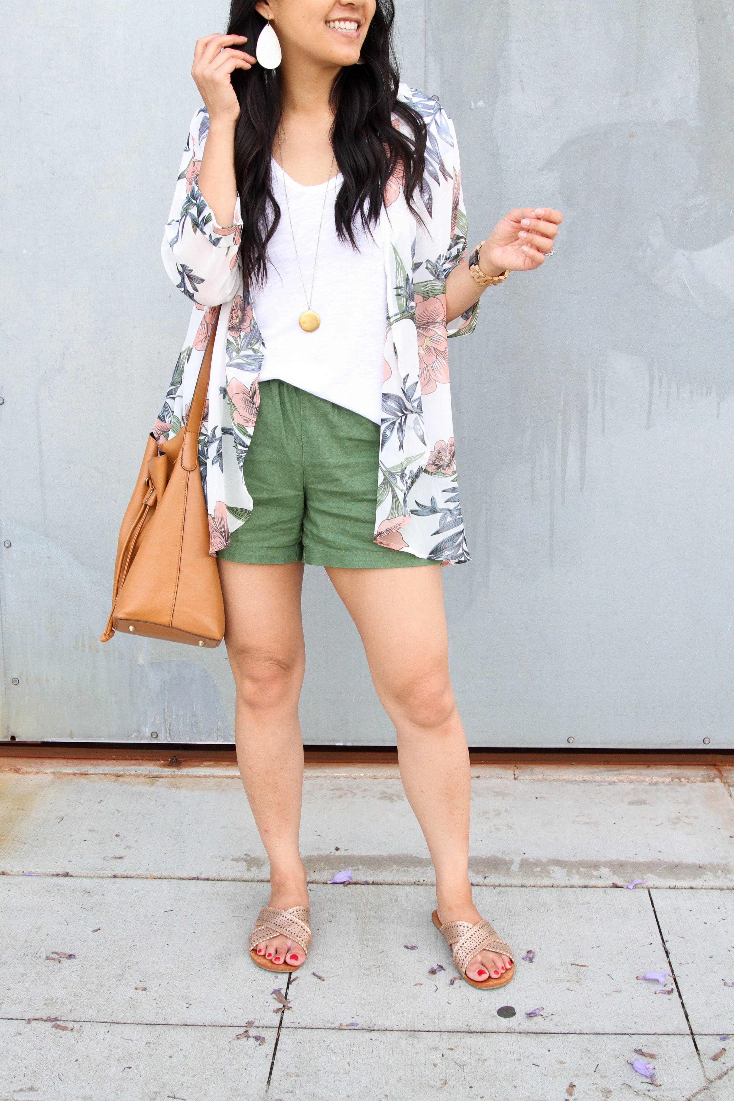 white tee + floral wrap + olive shorts + metallic sandals