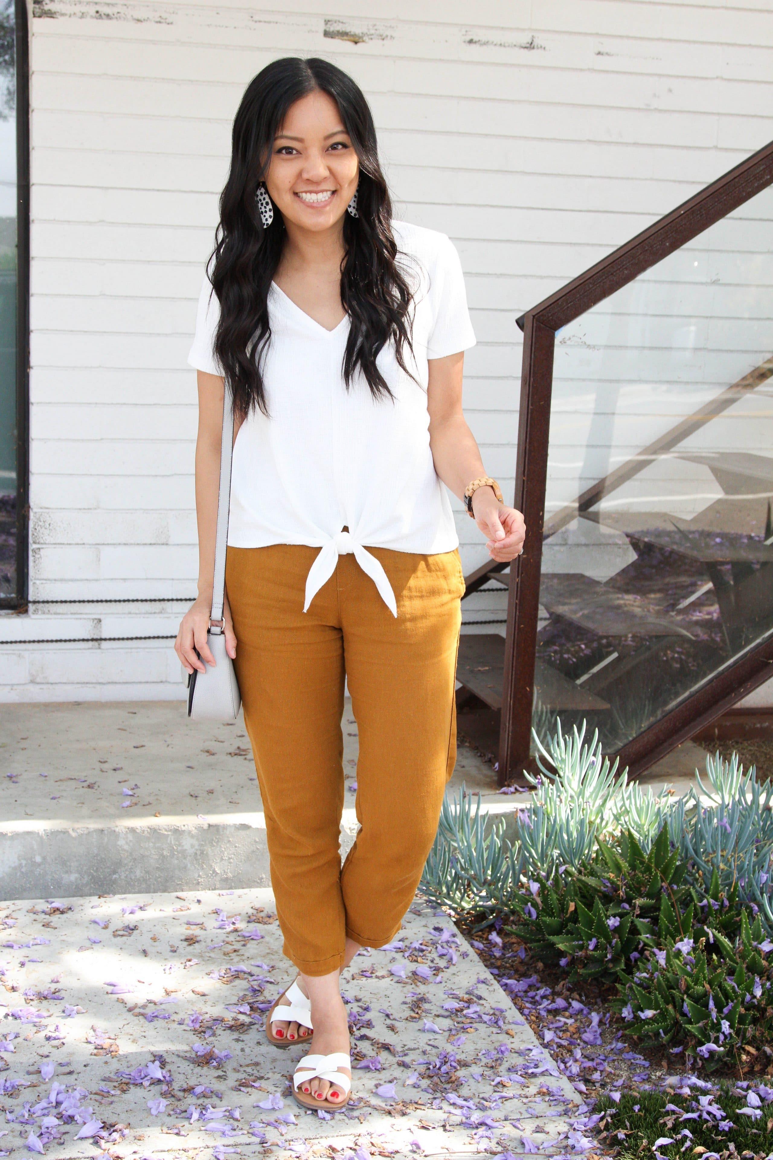 white tie top + tan linen pants + white sandals