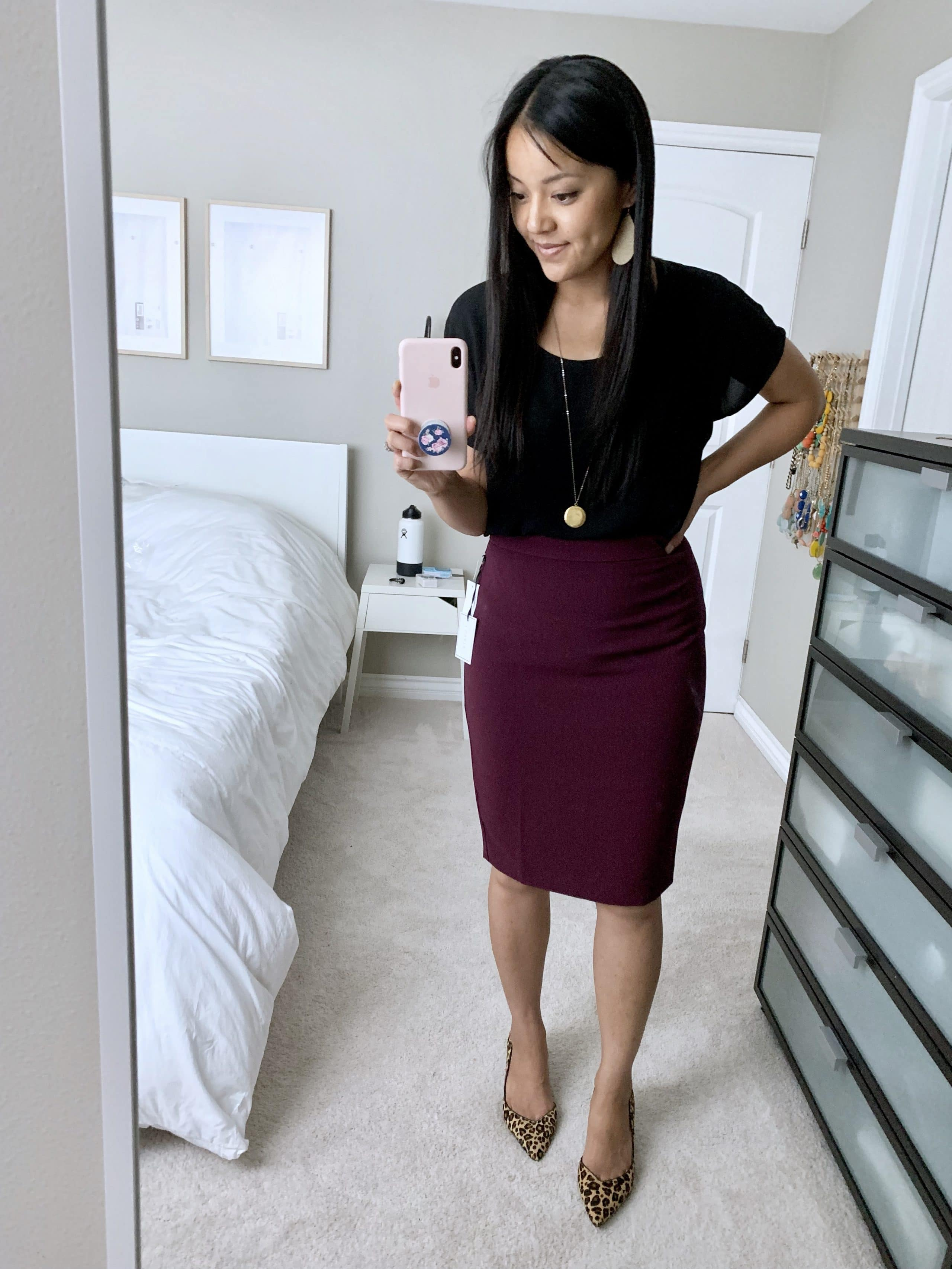 business casual outfit: maroon pencil skirt + black top + leopard print pumps