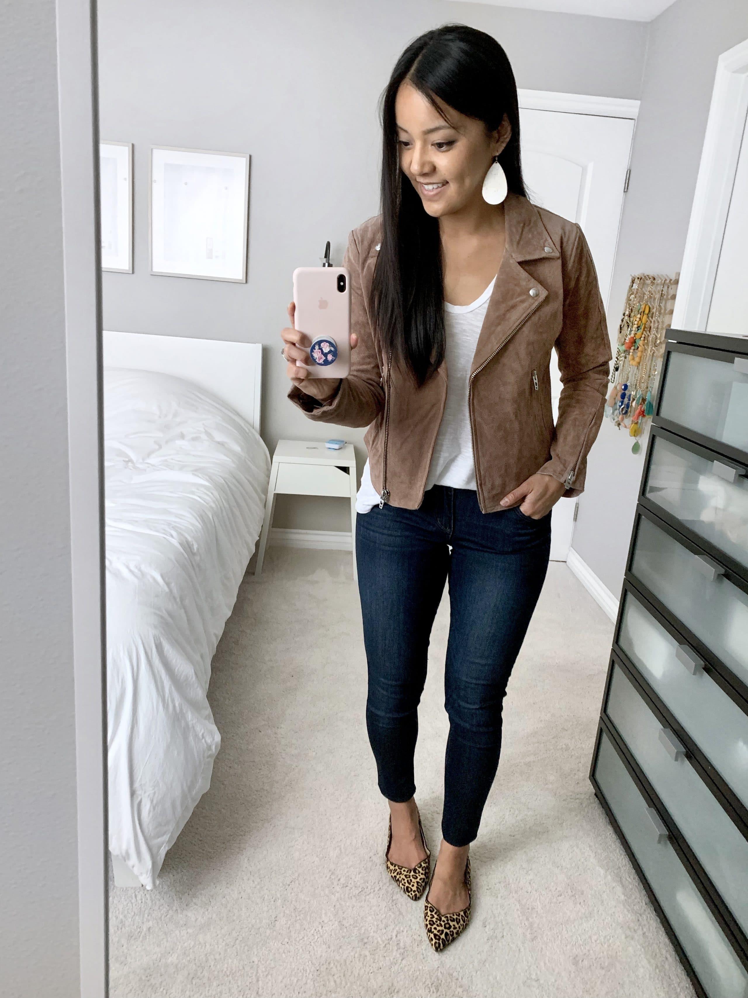 suede moto jacket + white tee + jeans + leopard print flats