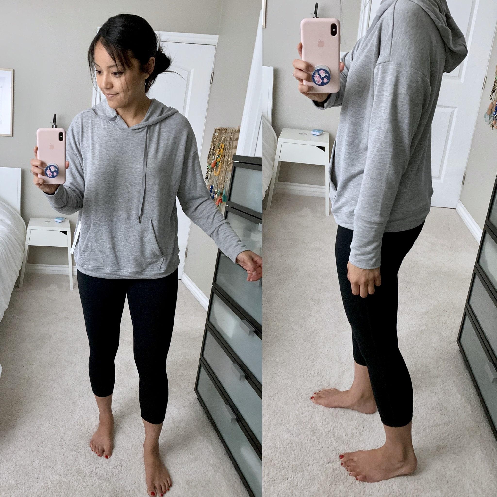 grey sweatshirt + leggings