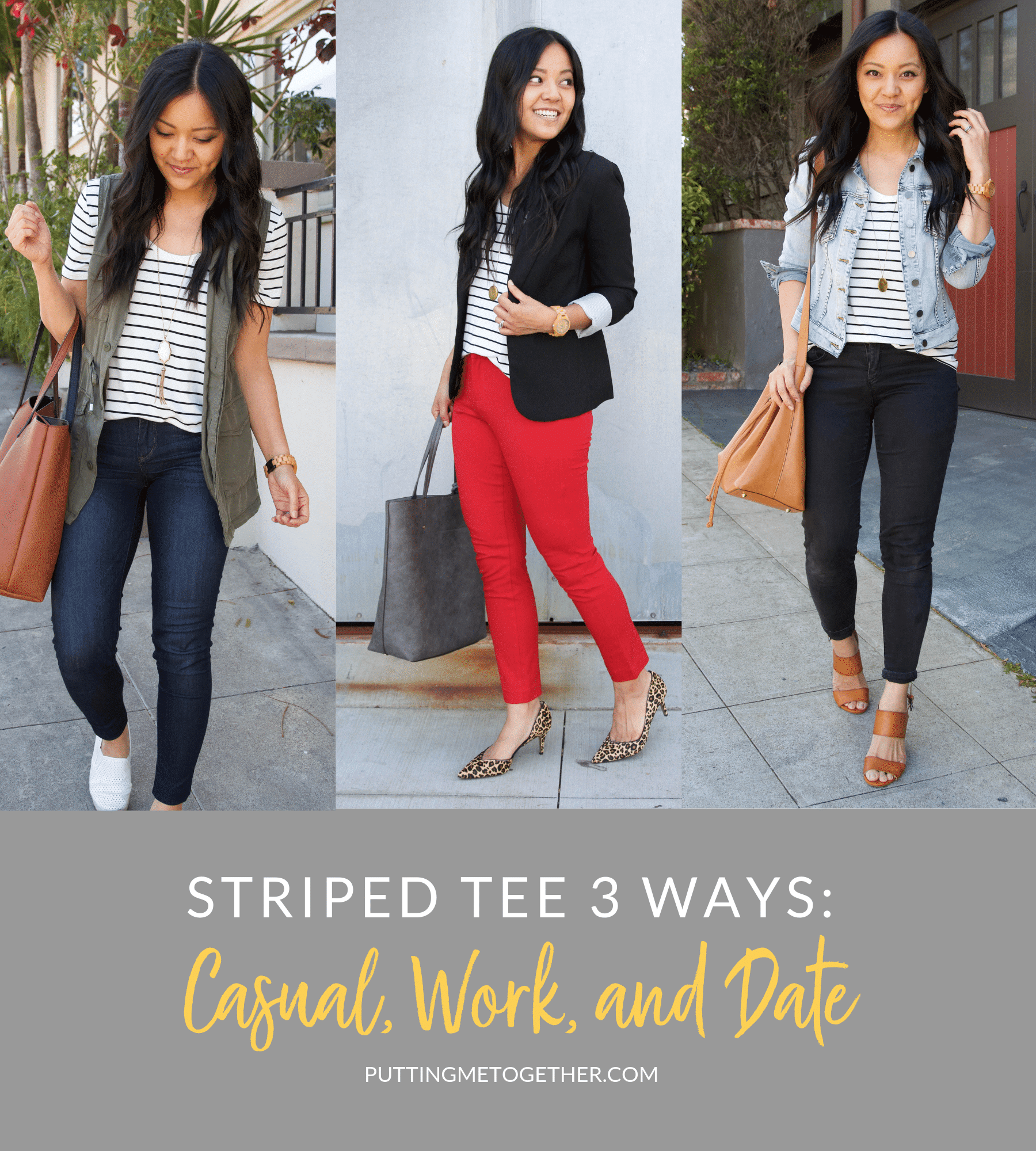 Casual, Work and Date Striped Tee Outfit