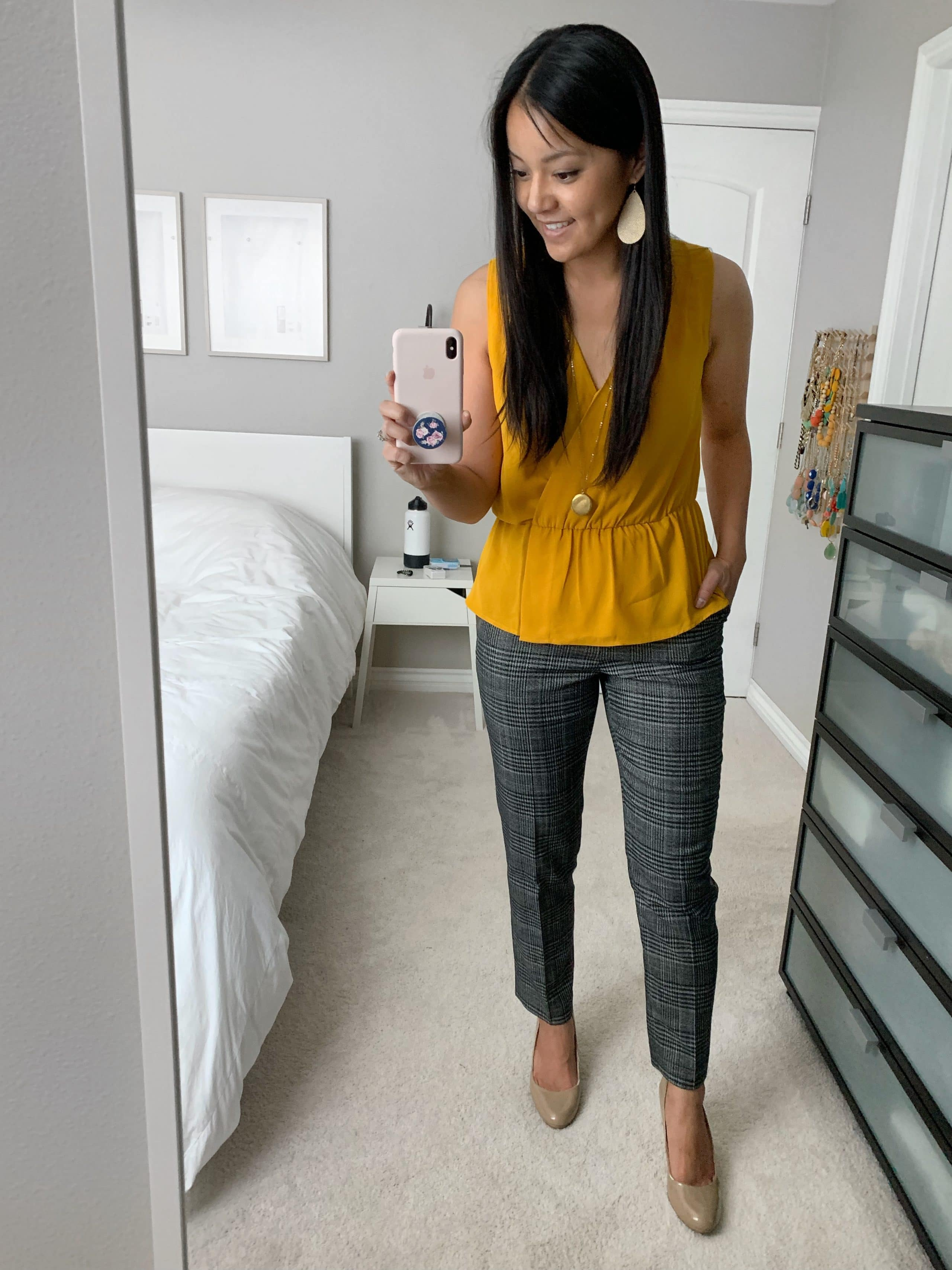 business casual outfit: grey plaid pants + yellow top + nude pumps