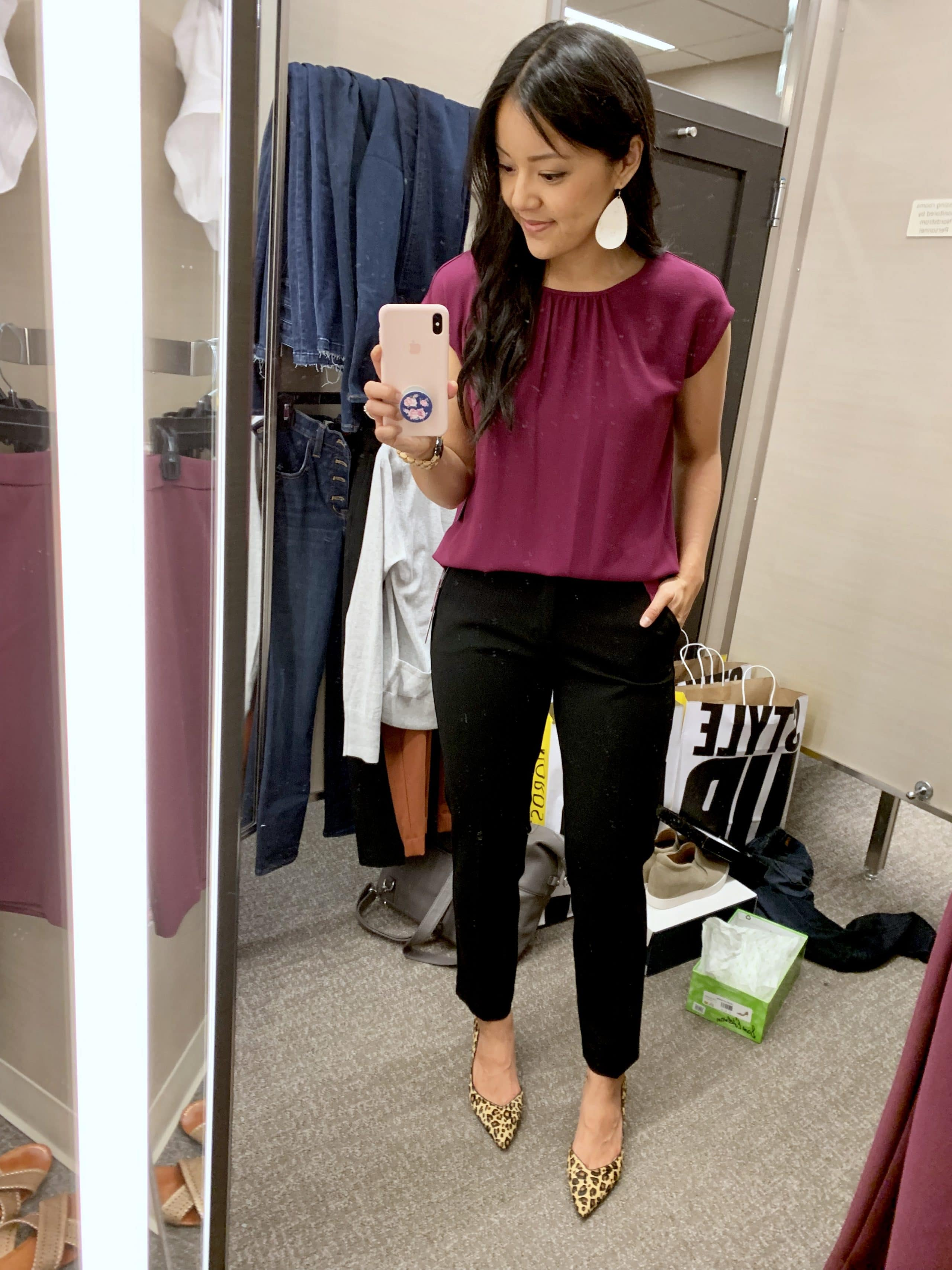 Business Casual Work Outfit: black pants + magenta top + leopard print pumps