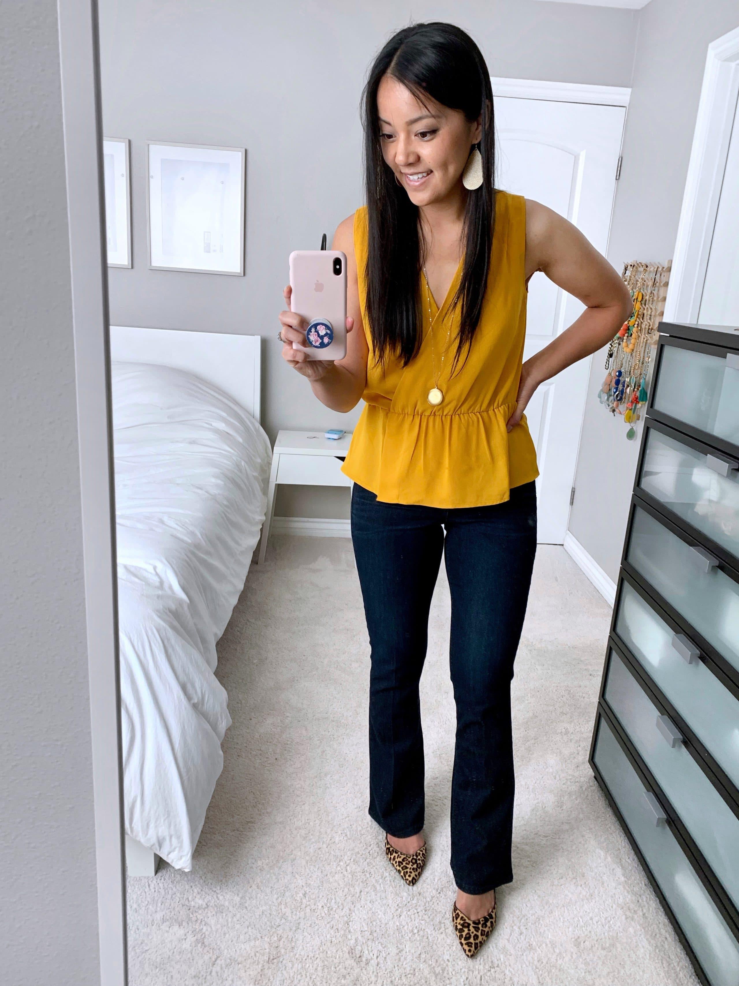 bootcut jeans + yellow top + leopard print pumps