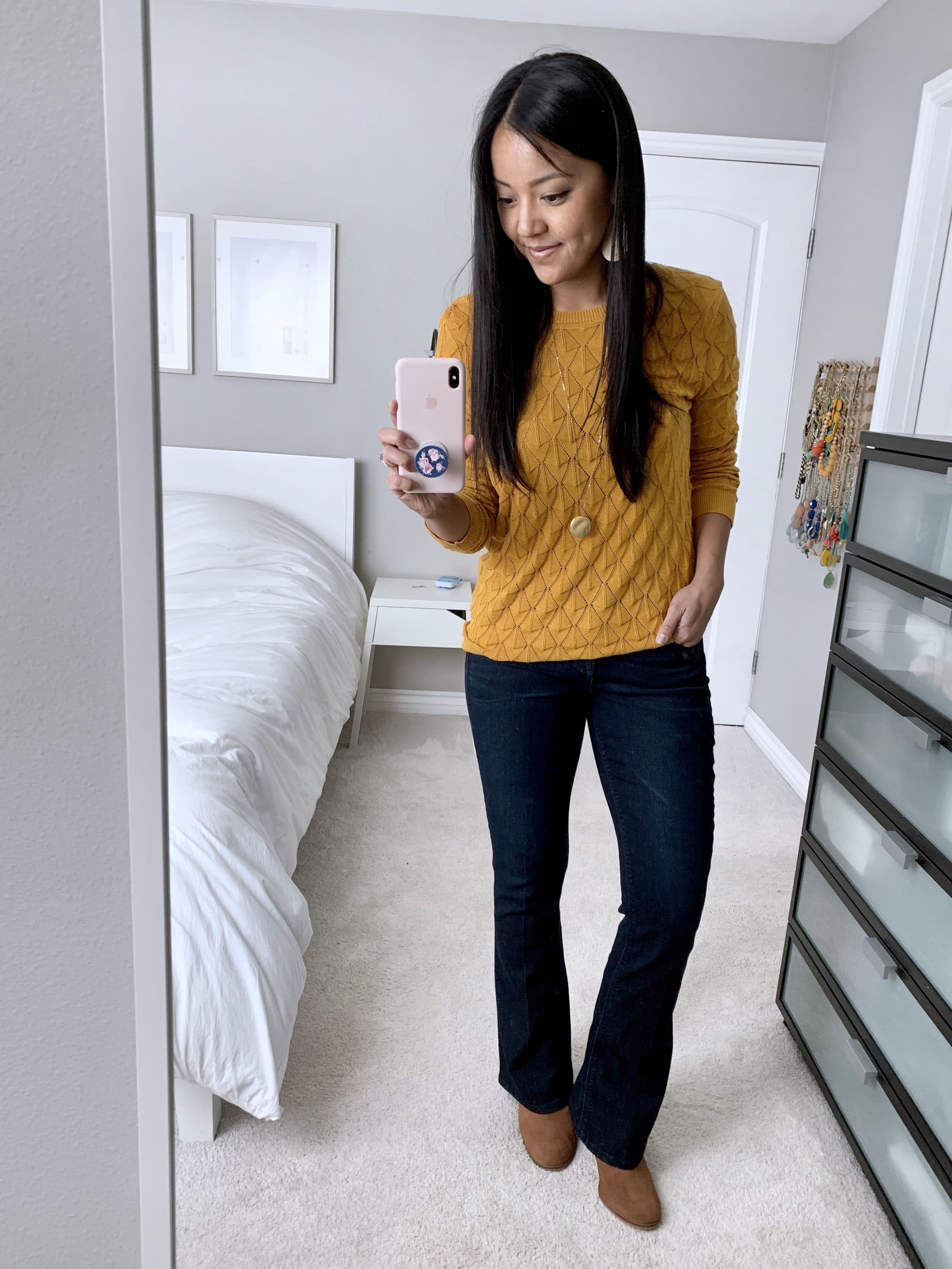 bootcut jeans + yellow sweater + tan wedge booties