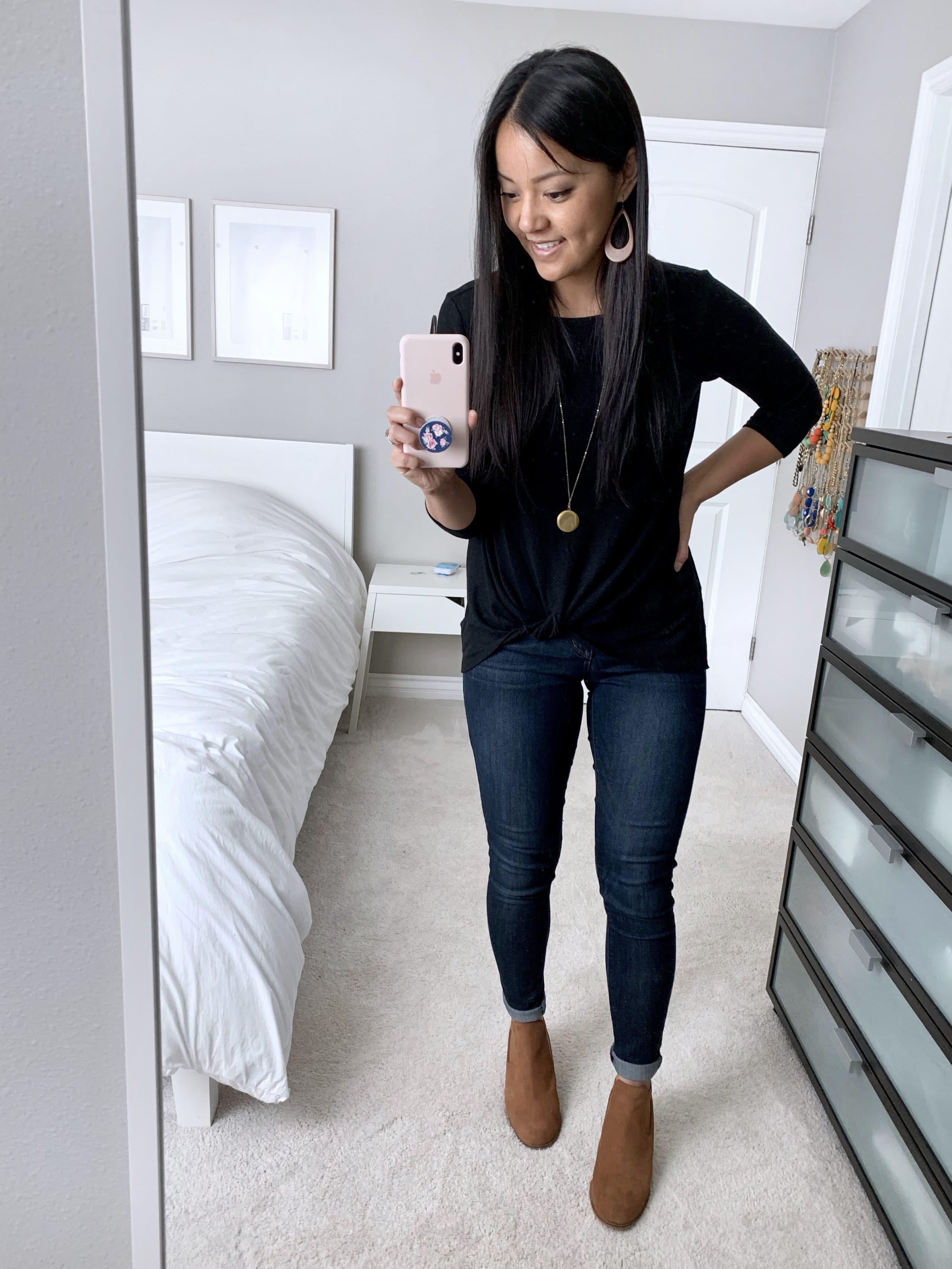 black twist fleece top + jeans + tan booties
