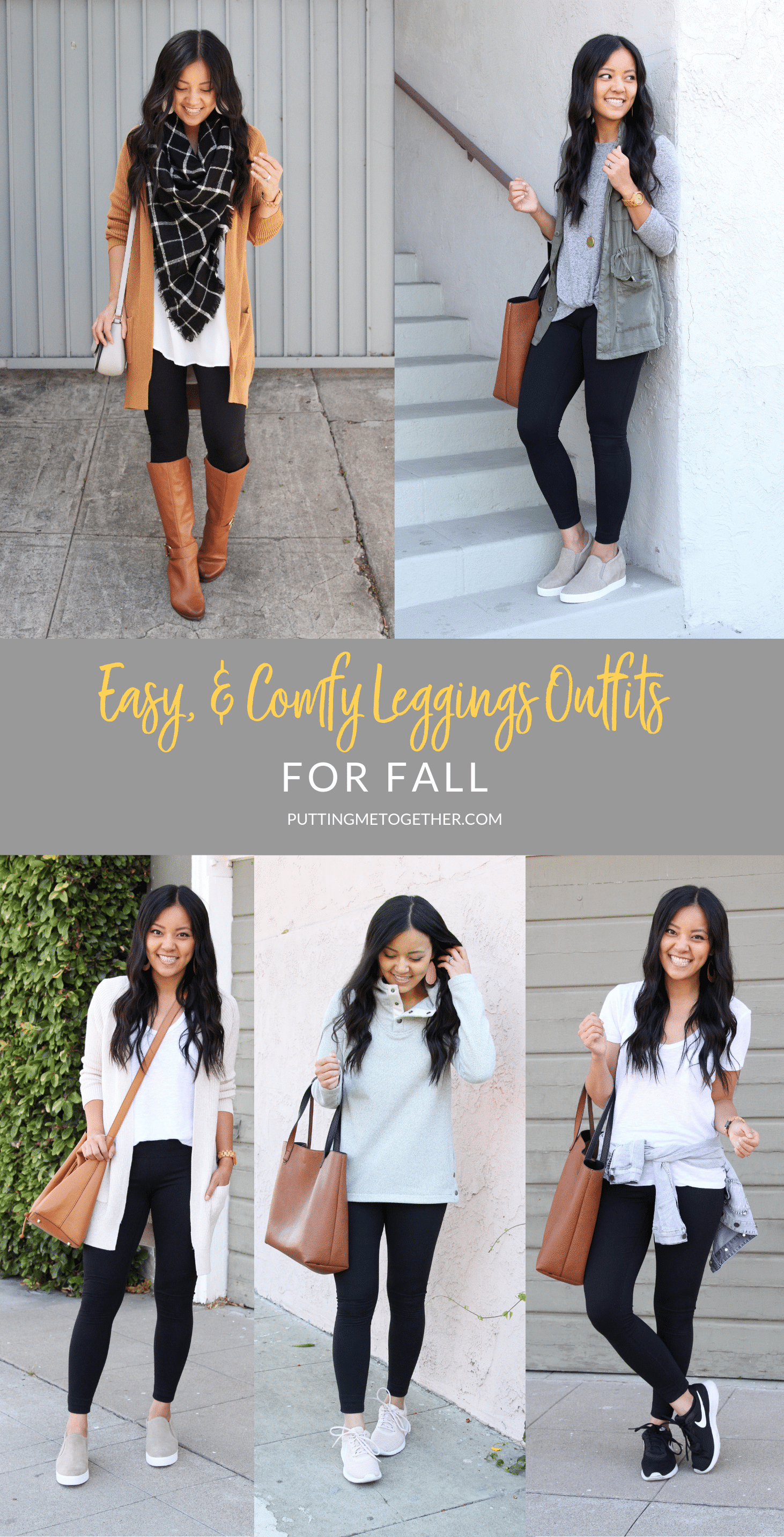 Easy and comfy leggings outfits for fall