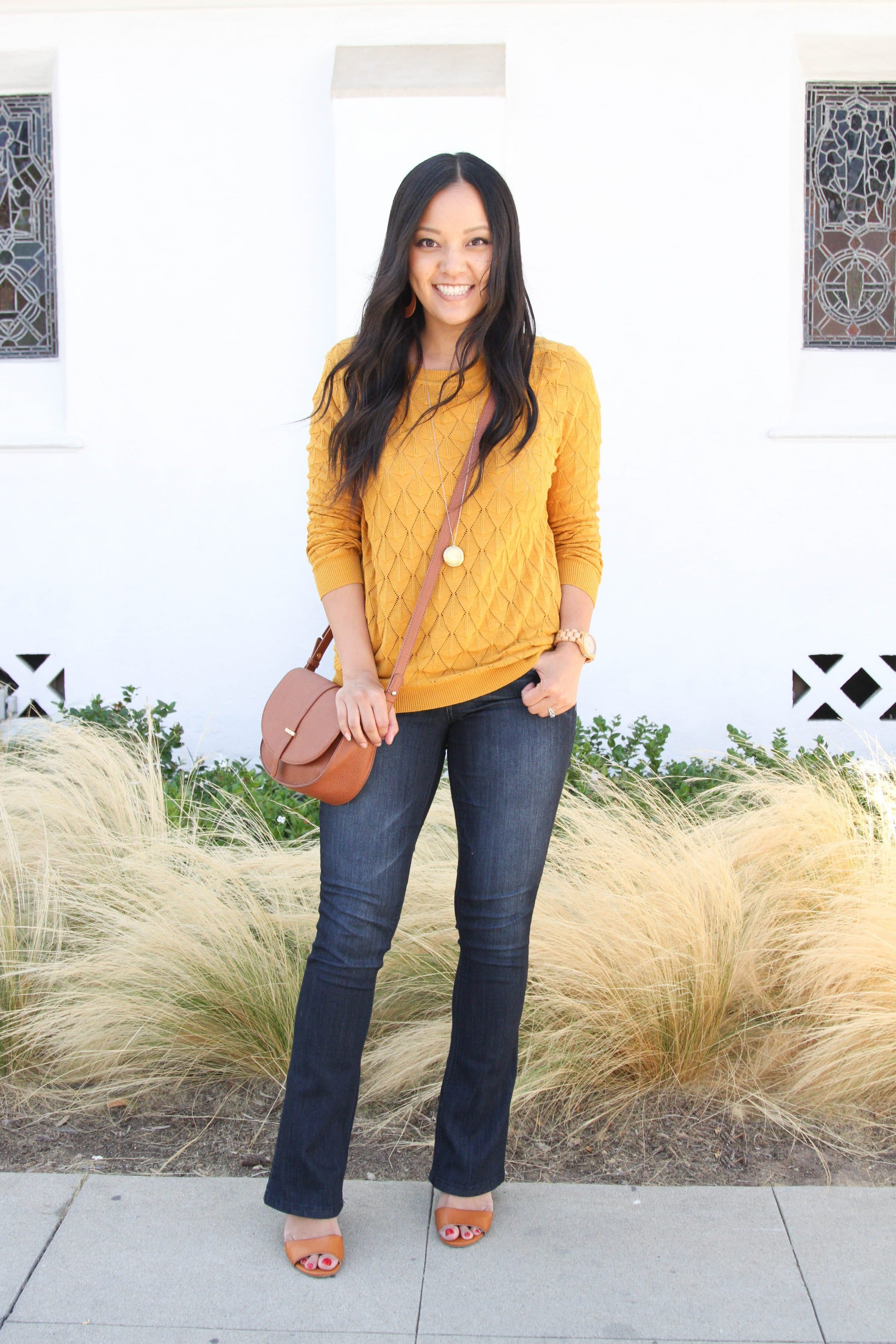 mustard sweater + bootcut jeans + wedges